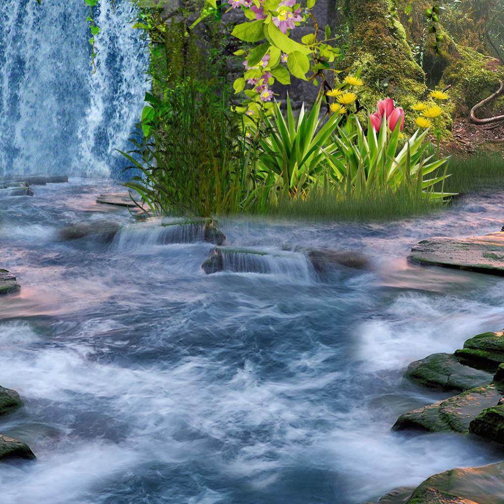 Картинка с водопадом и поляной цветов, смешных лиц