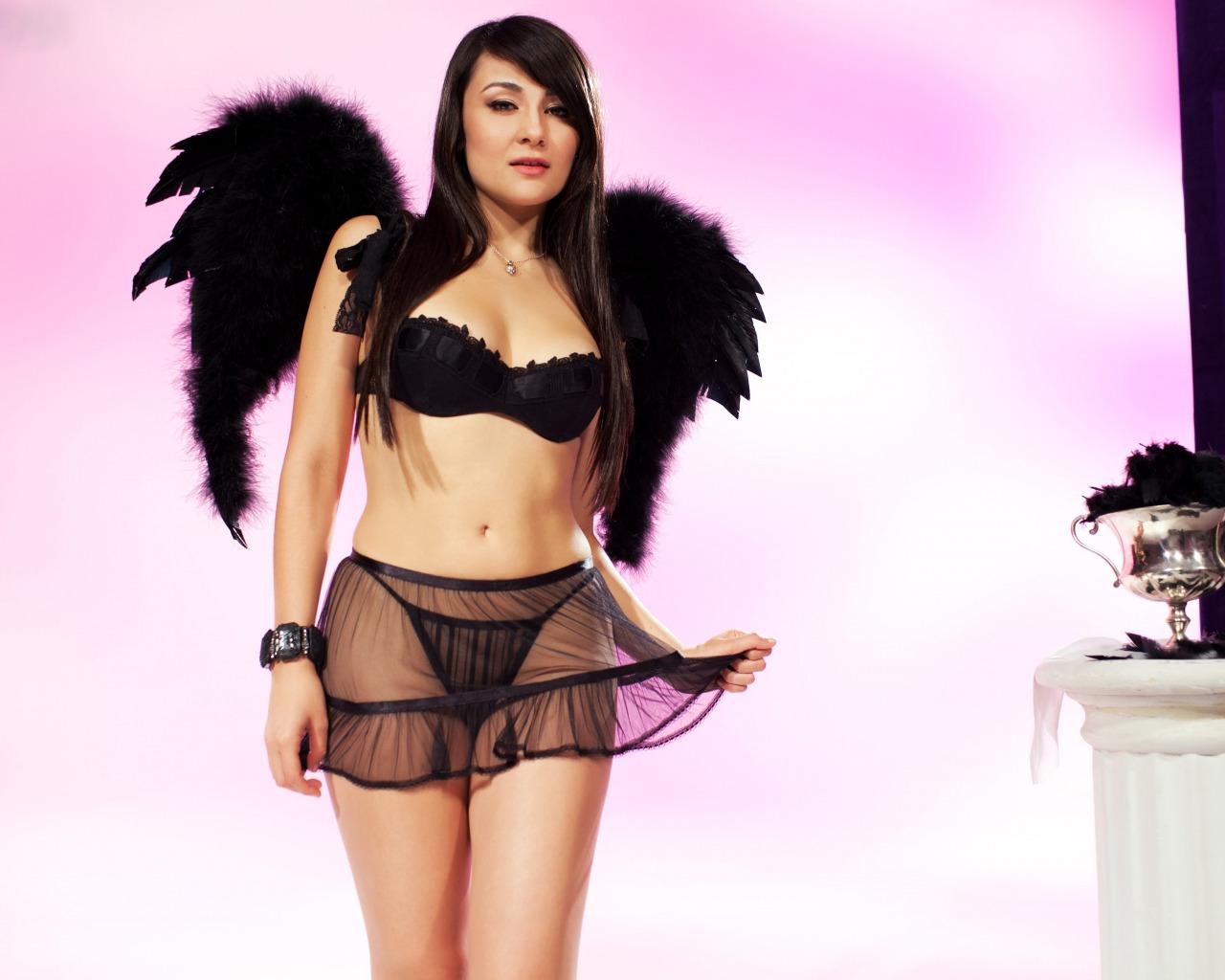 Nude women semi lingerie