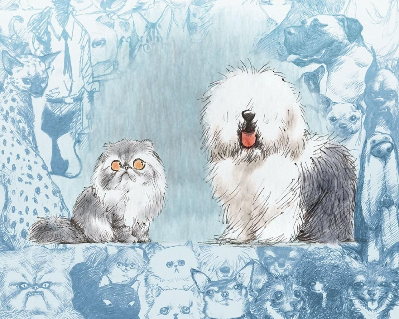 Картинки с котами и собаками зимой рисованные вертикальные, астрой