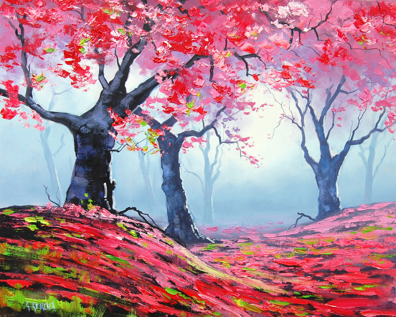 How to draw Spring season scenery with oil ep by step Spring season drawing pictures