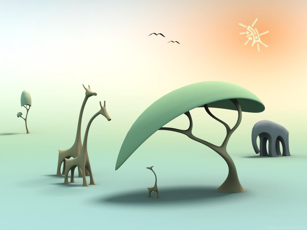 Рисунки смешных деревьев, днем