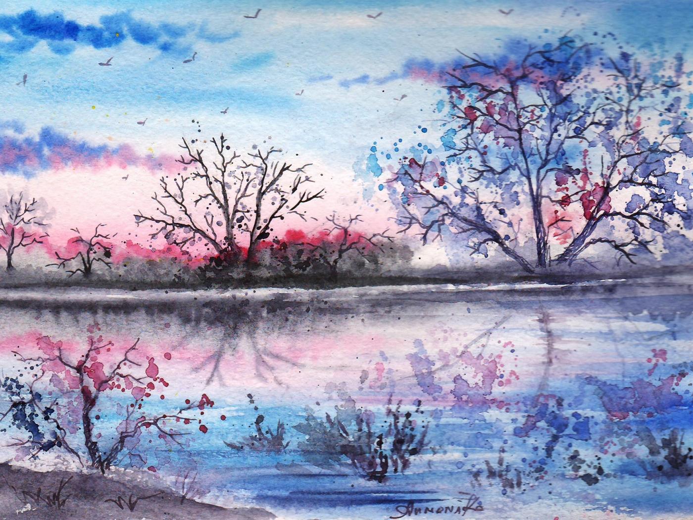 Картинки нарисованные акварелью пейзажи