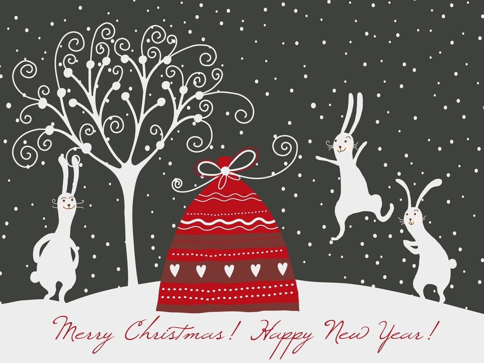 Смешные, рисунки для открыток для нового года