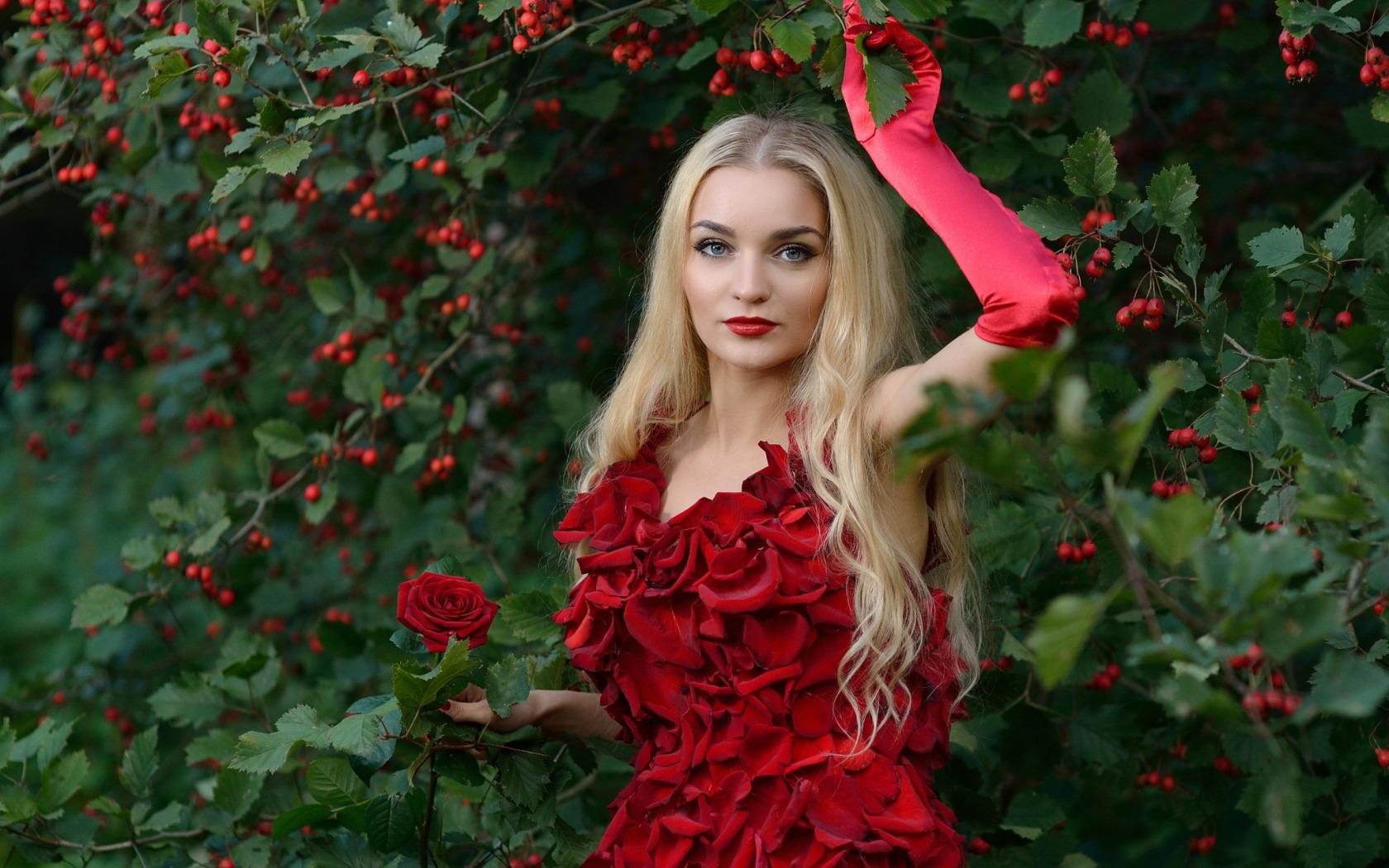 Фото с девушкой у куста розы