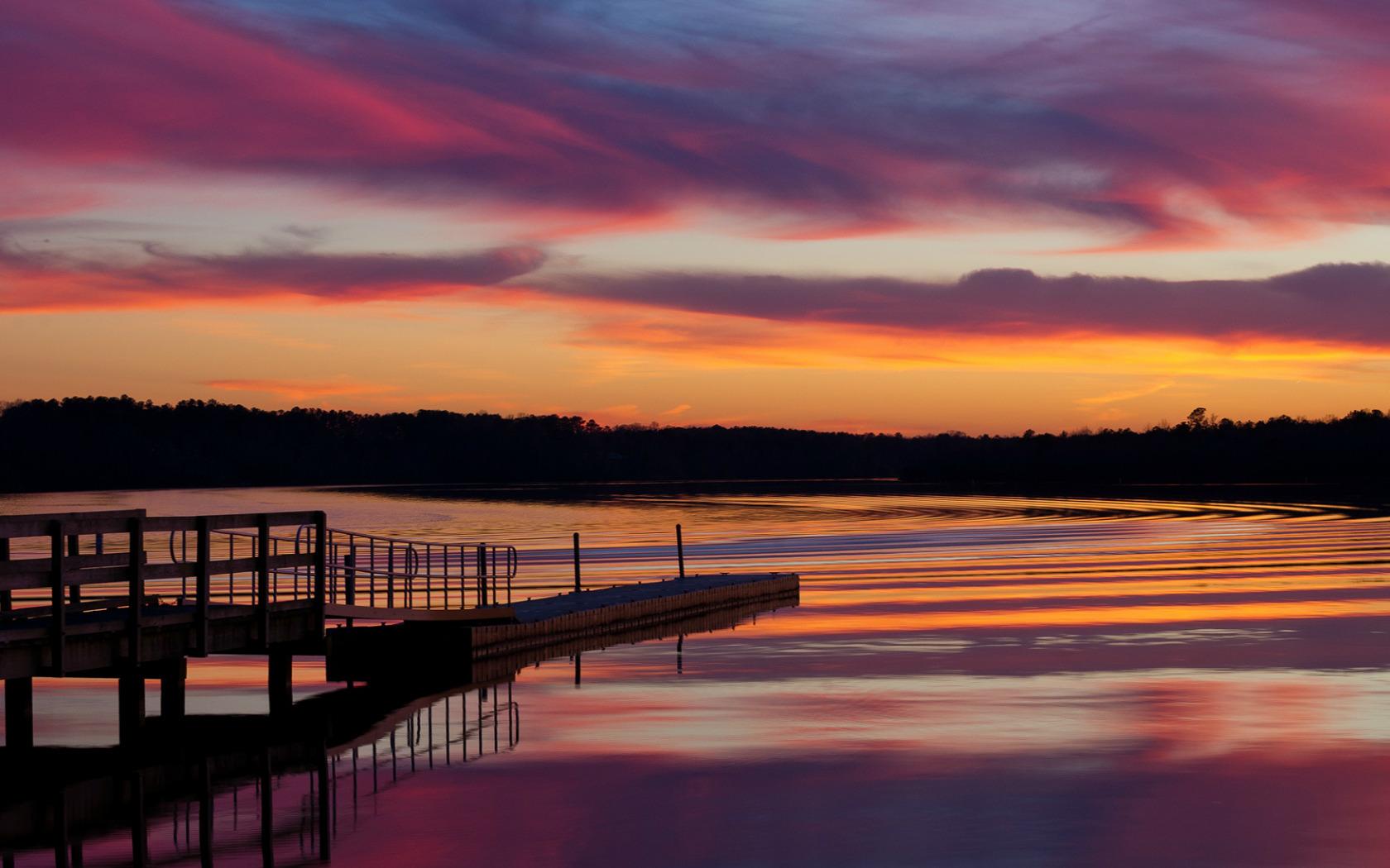 природа озеро деревья небо облака закат  № 1249570 бесплатно