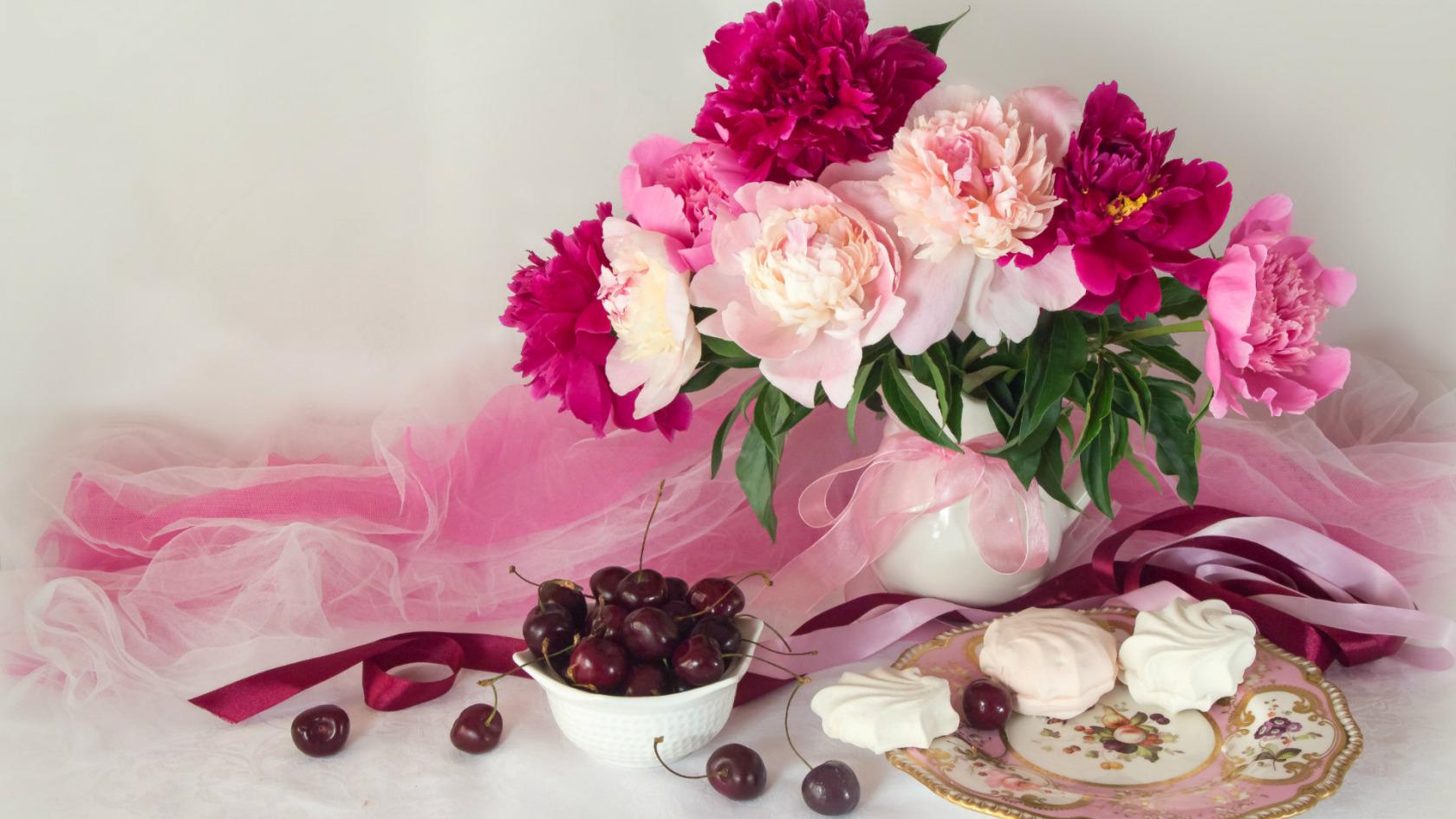 Открытка гифка пионы летние цветы