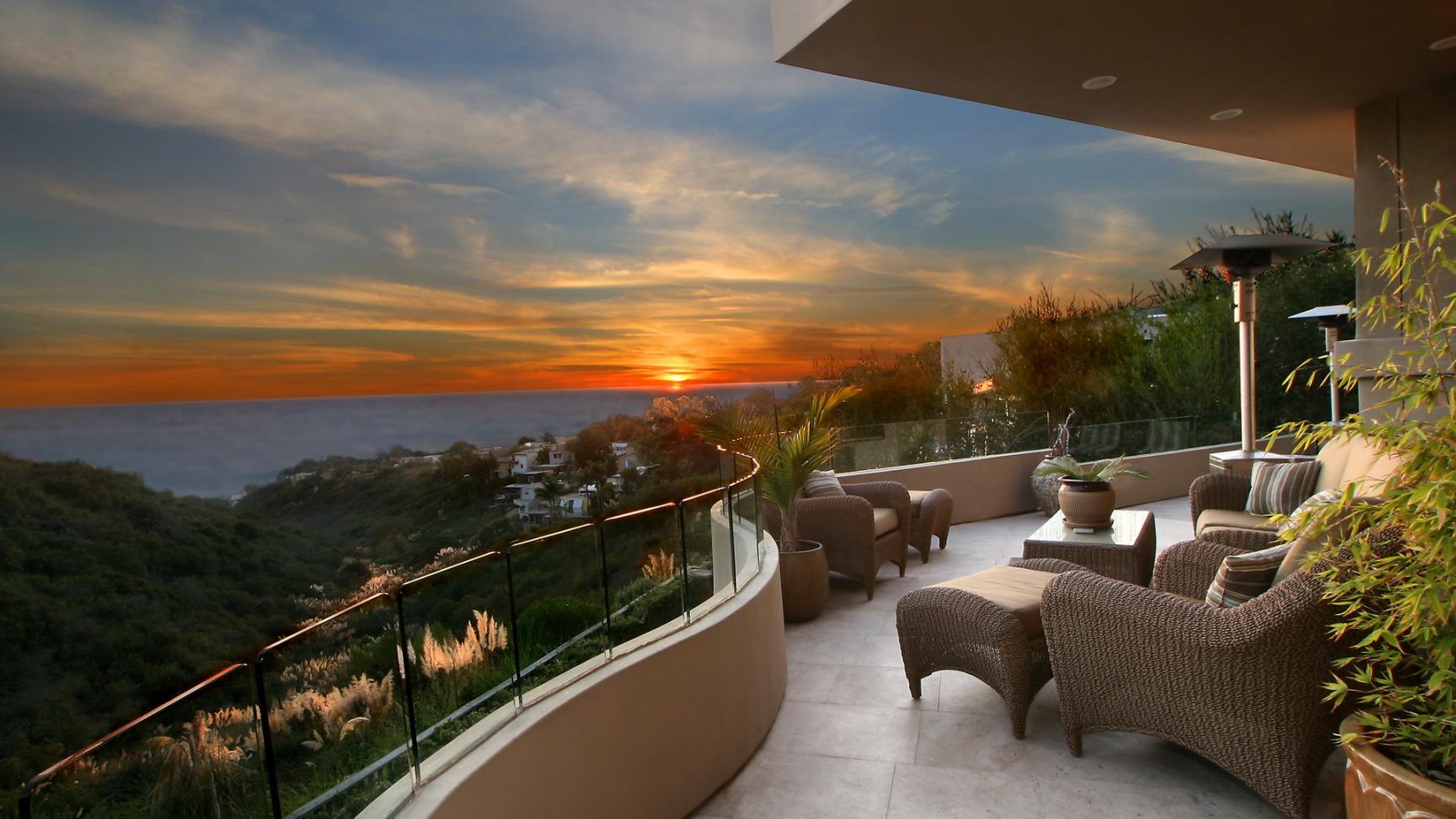 Картинка рассвет, горизорт, балкон, закат, море, природа 136.