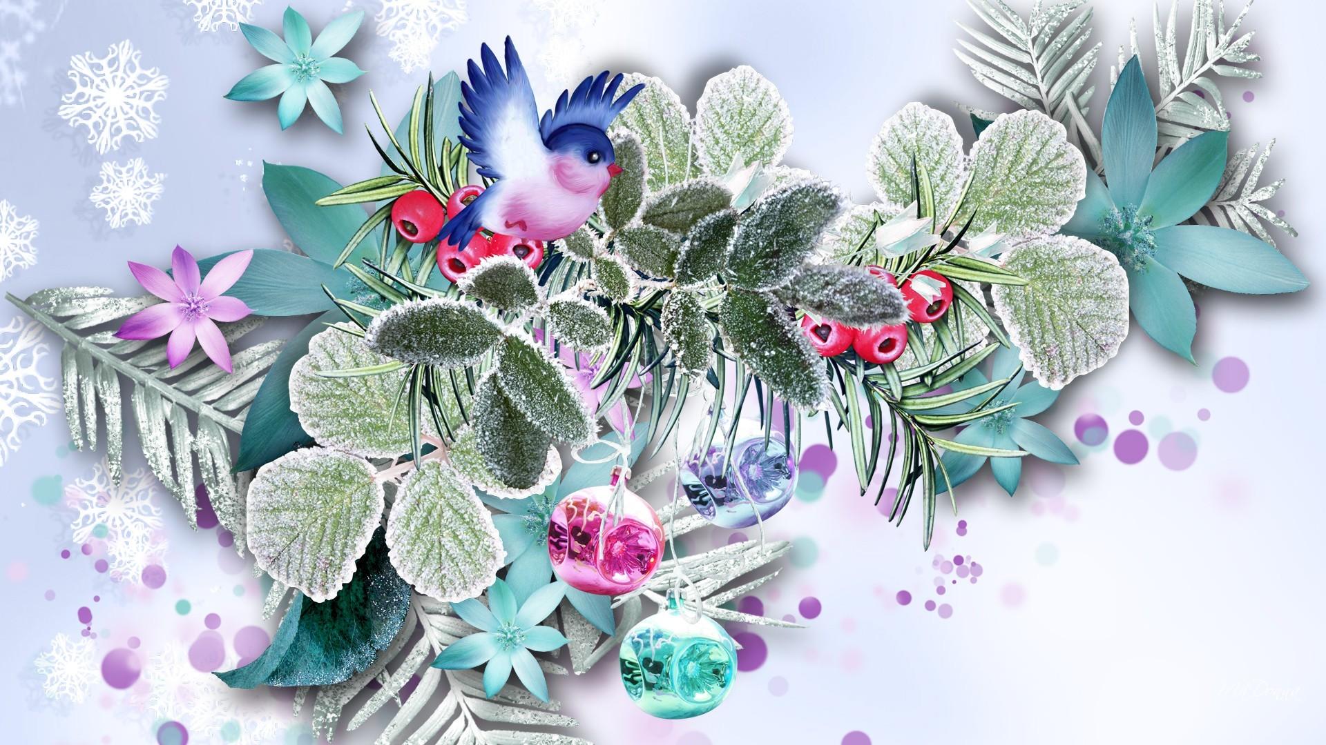 Днем, цветы для новогодней открытки