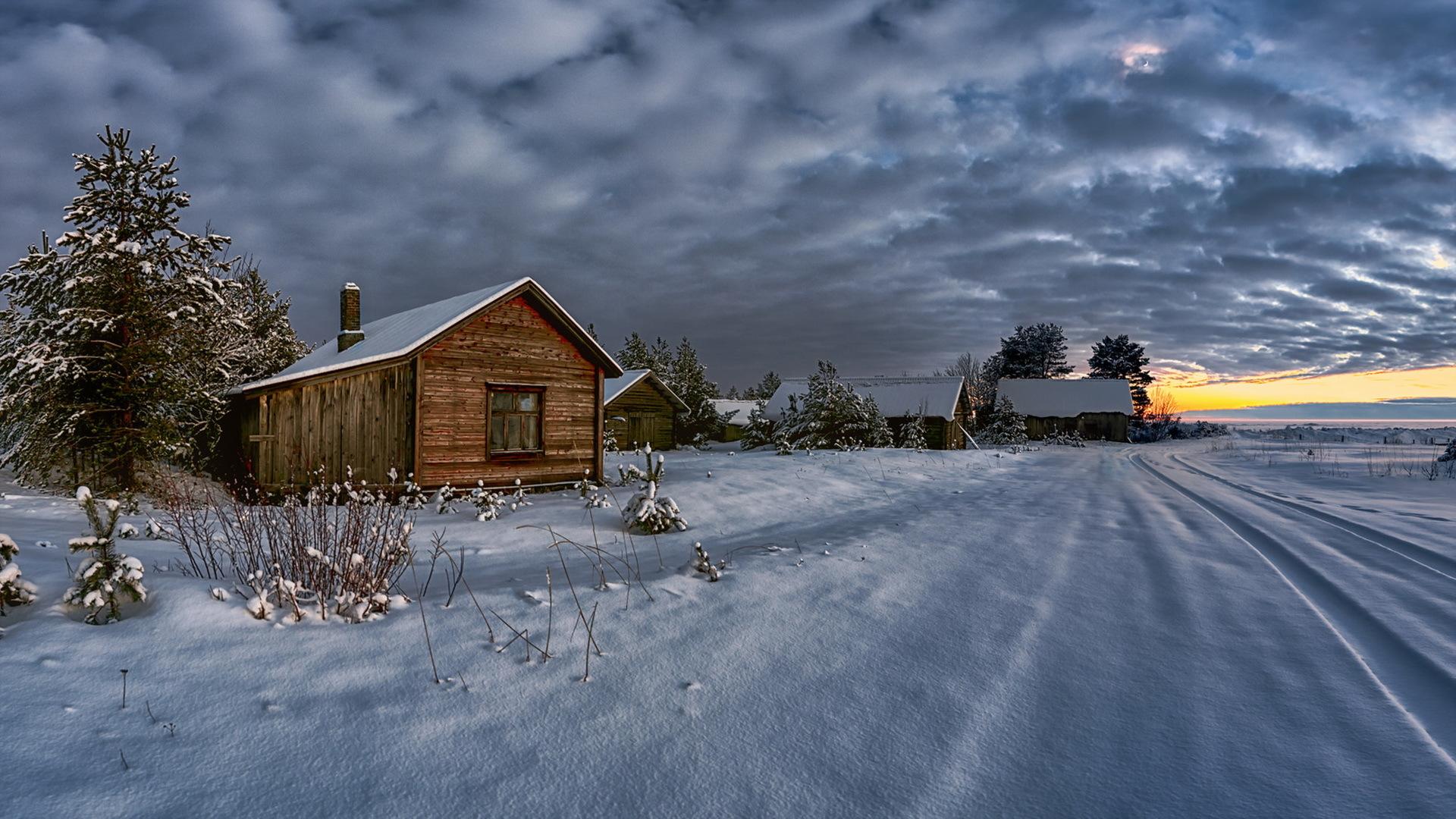лайнера обои на рабочий стол русская зима в деревне дома такой