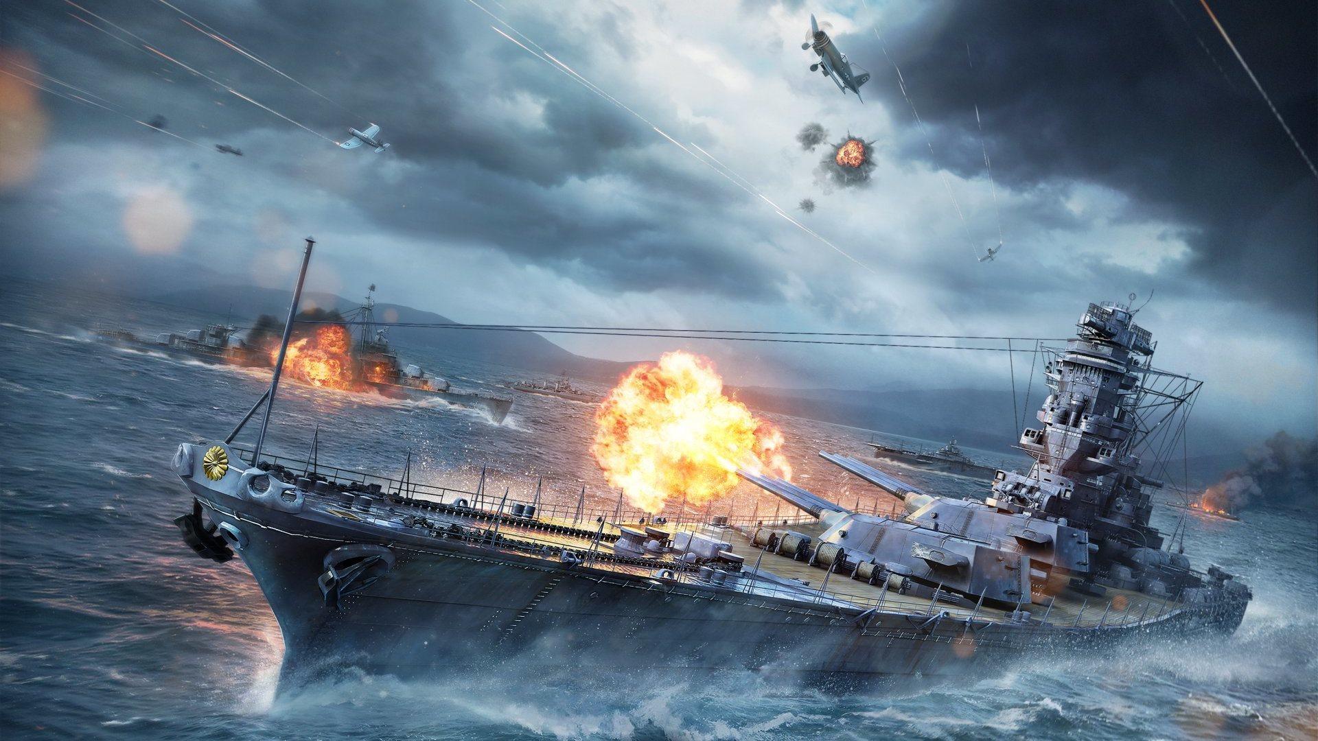 Обои мир кораблей, wows, wargaming net, выстрел, wg, пламя. Игры foto 6