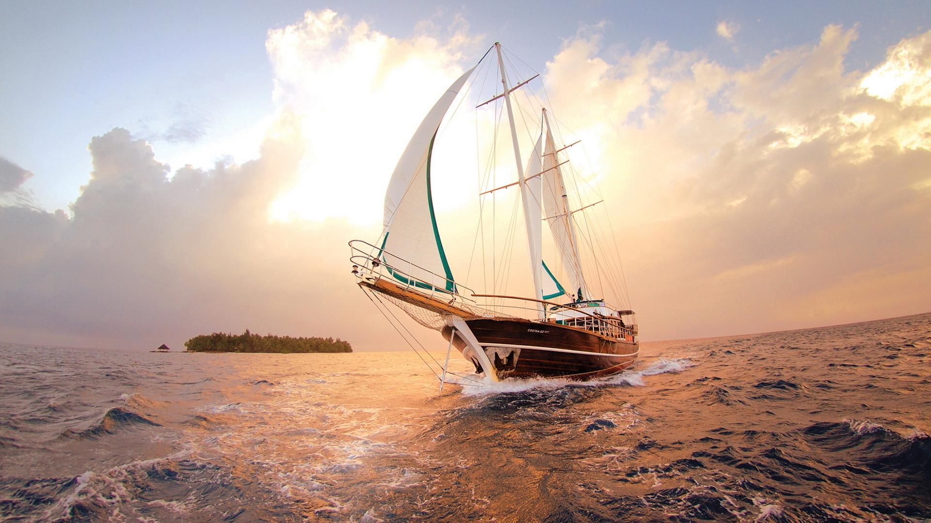 Пожелание, открытка с яхтой и парусом