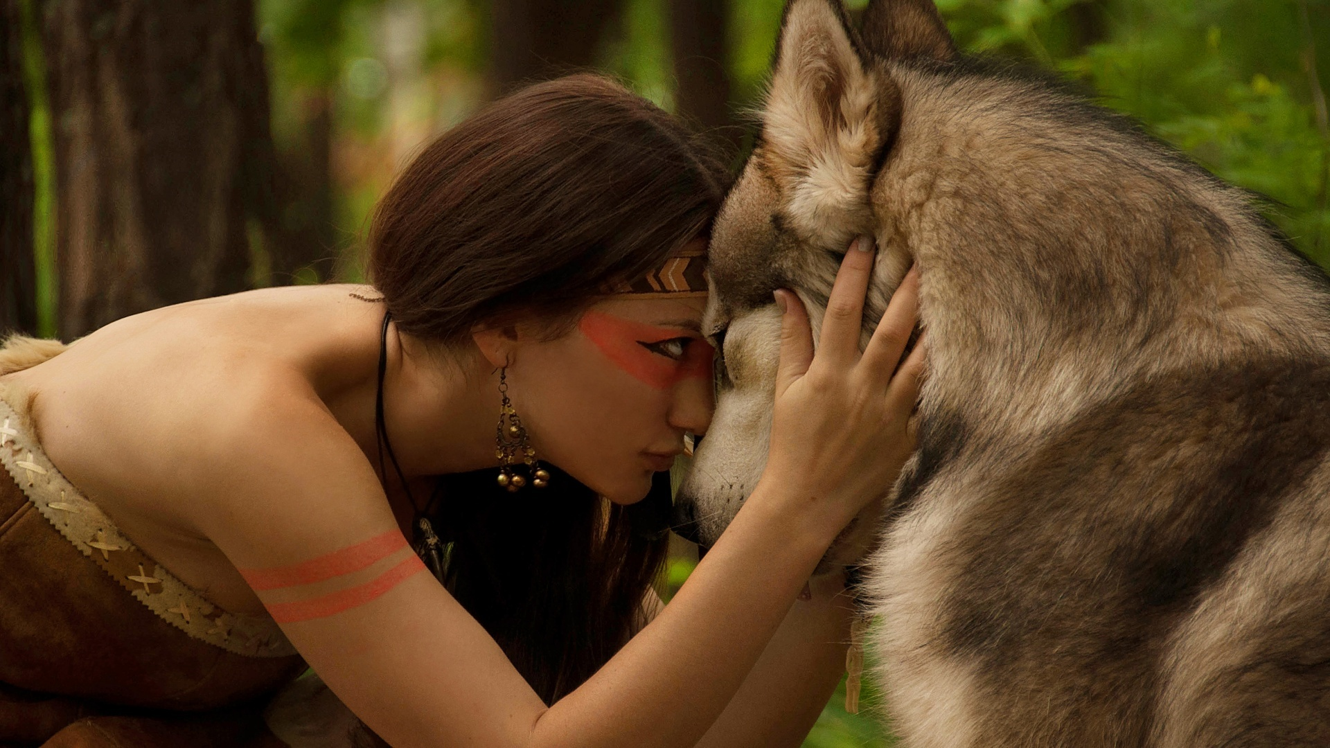 Волк защищает девушку фото
