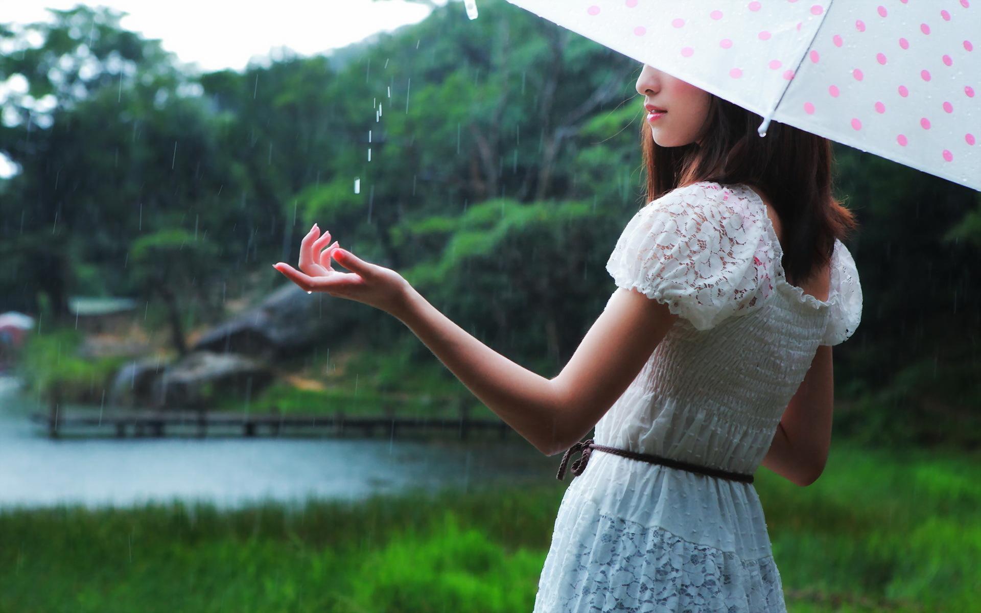 девушка зонт дождь природа  № 3582373  скачать