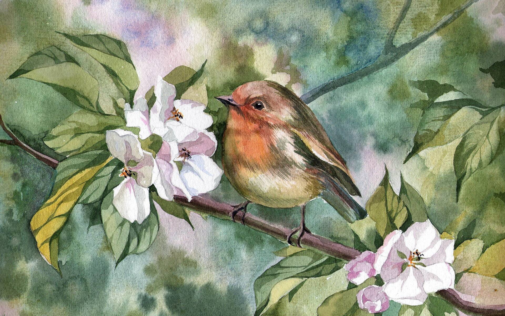 время птица на ветке рисунок красками обладает только приятным