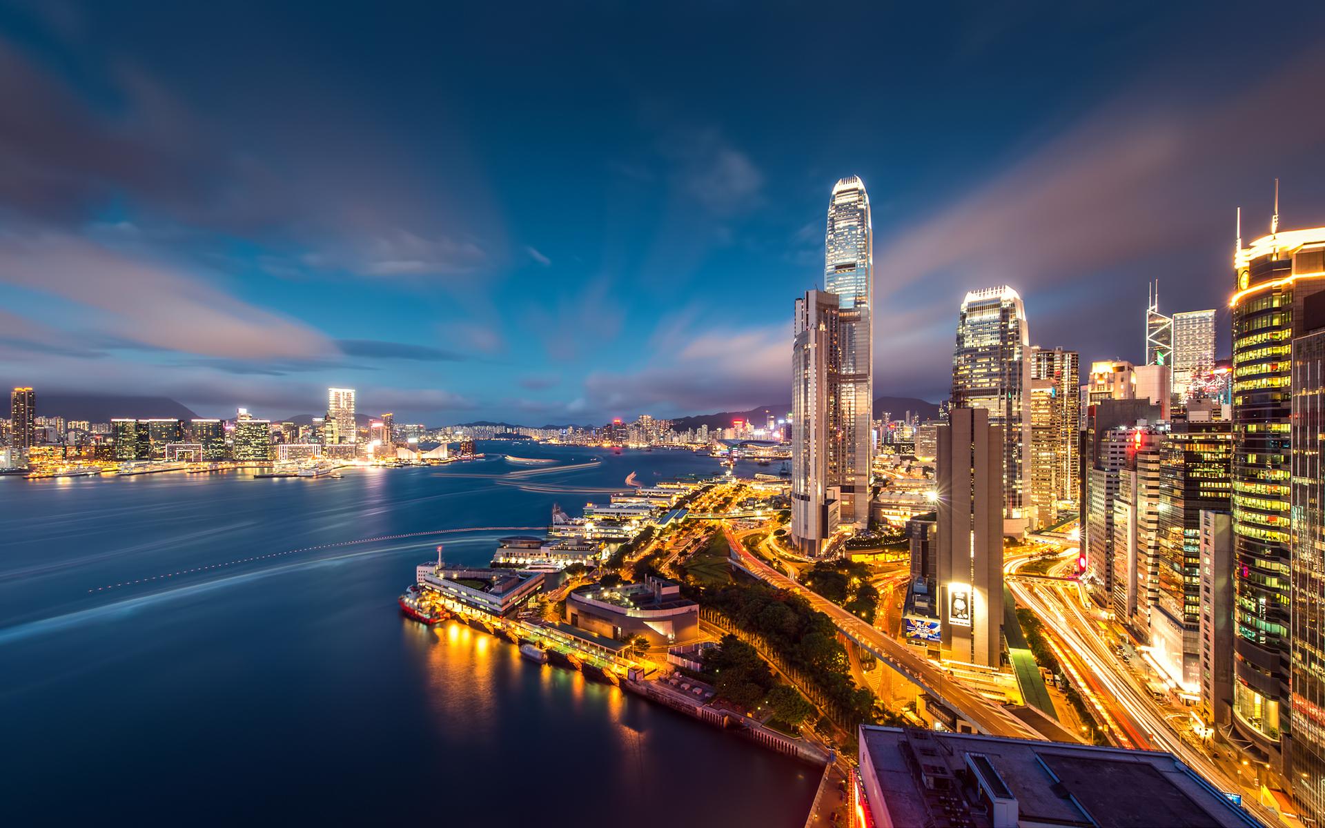 страны архитектура ночь Гонконг  № 1481651  скачать