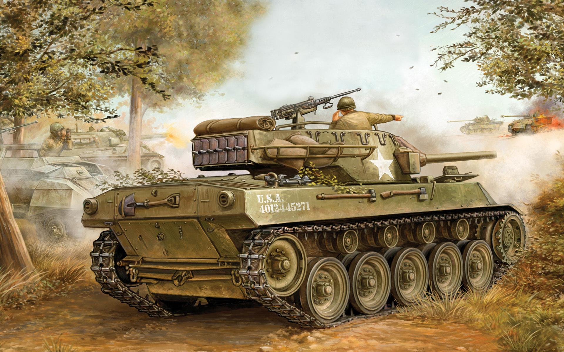 Скачать обои арт, танк, сау, m18, хеллкет, m18, hellcat, 76-мм ...