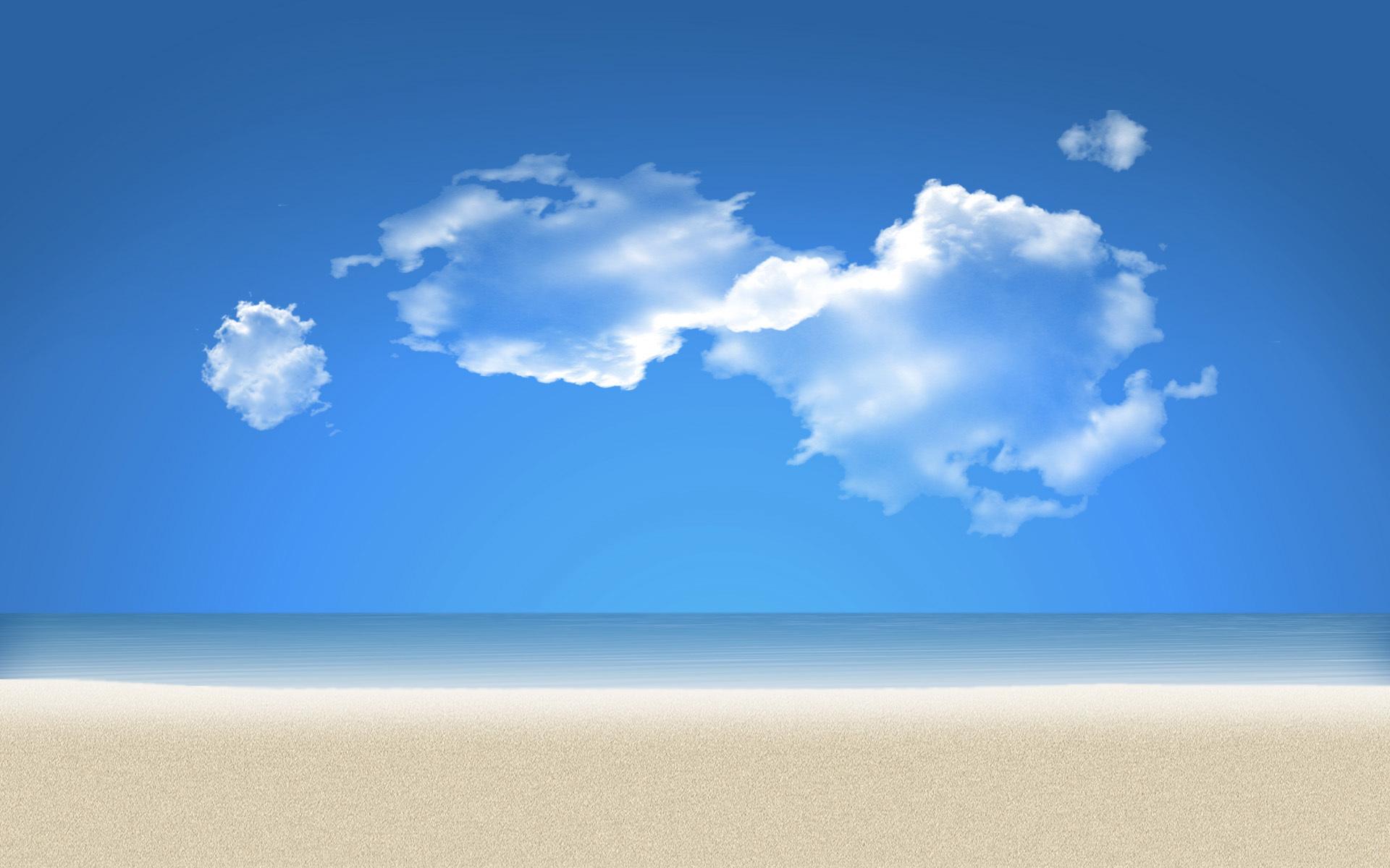 природа песок море горизонт небо облака  № 2577468 бесплатно