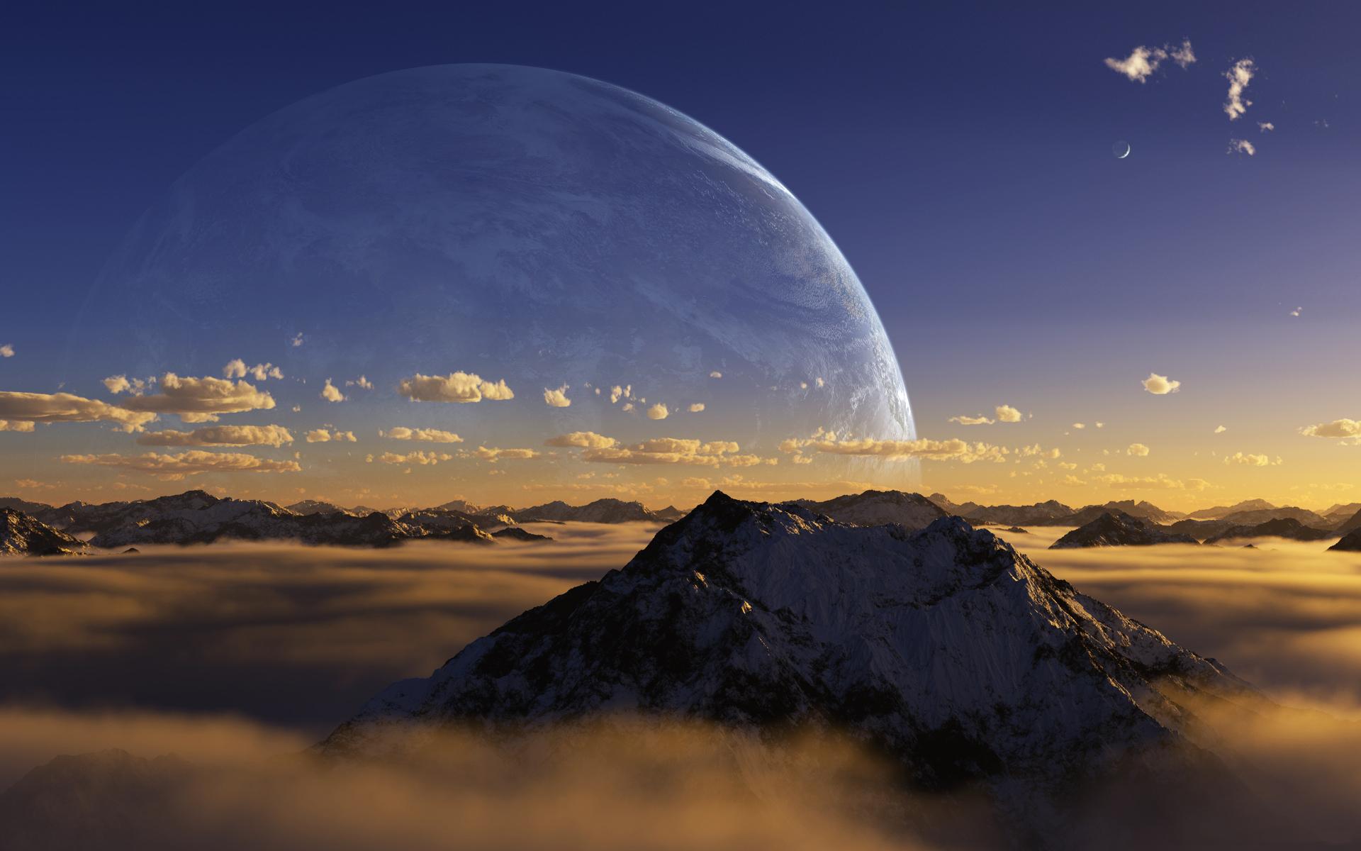Планеты над горами  № 1163975 бесплатно