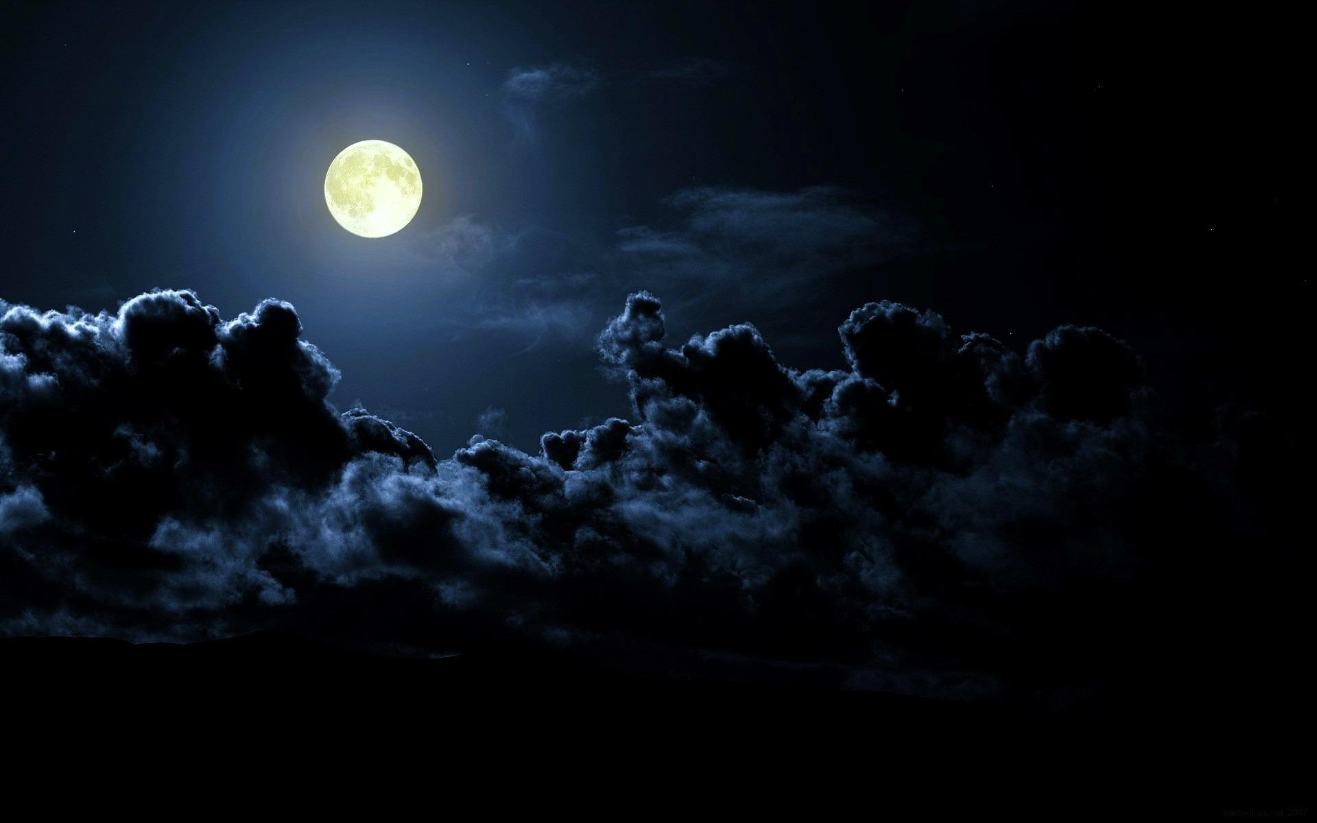 Картинки луна облака ночью