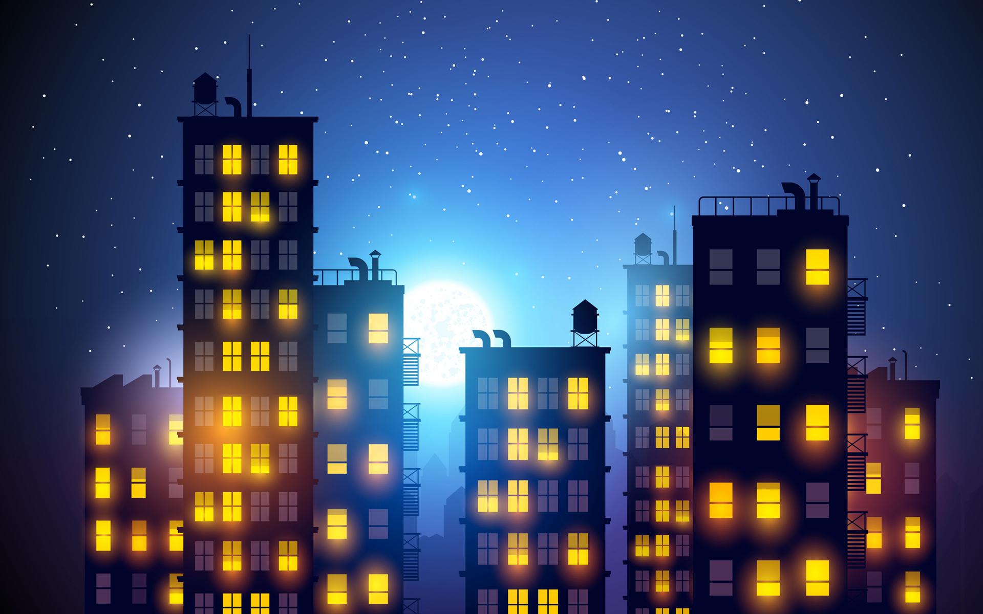 Город рисованный ночь