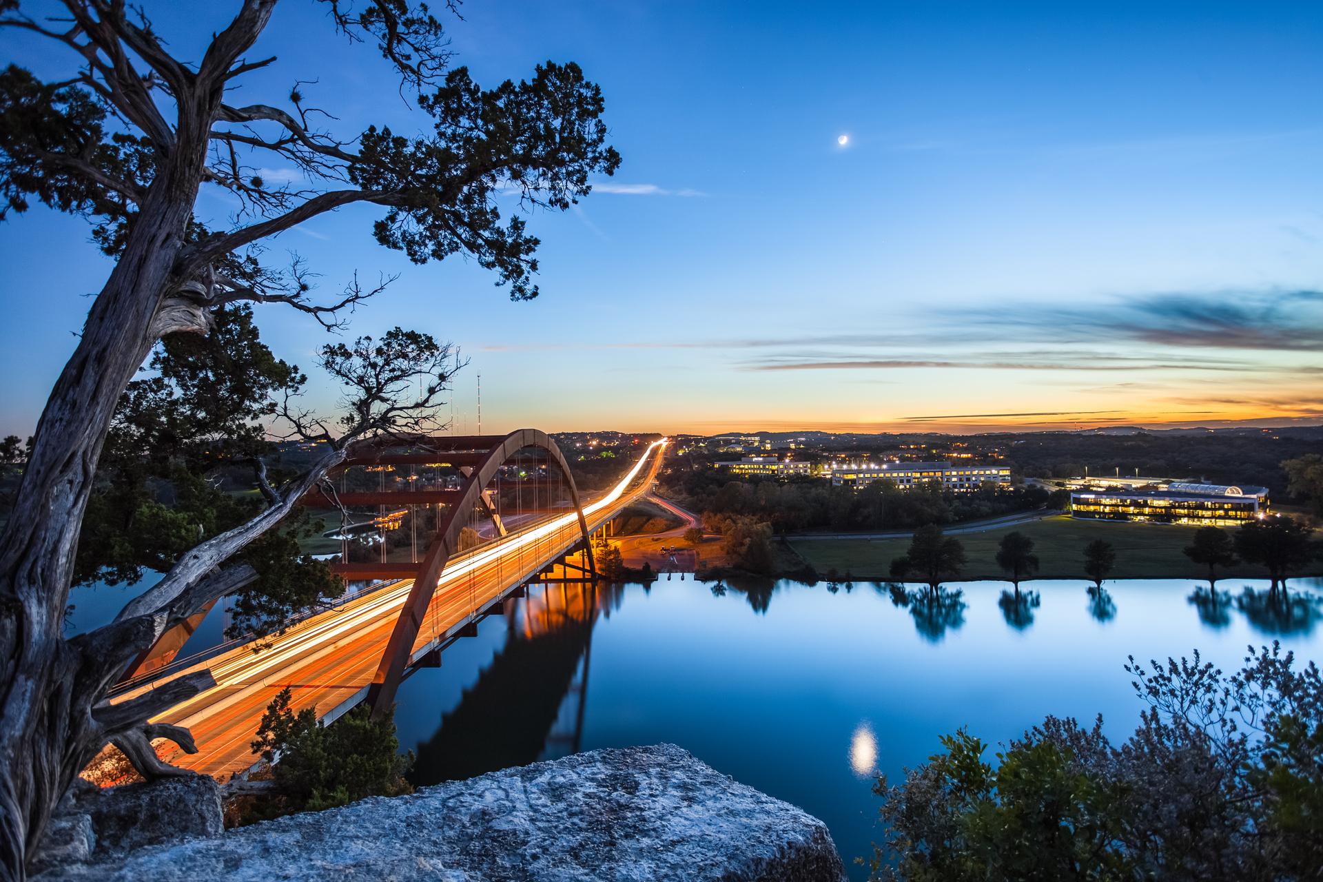 природа страны архитектура ночь река город мост  № 806812 загрузить