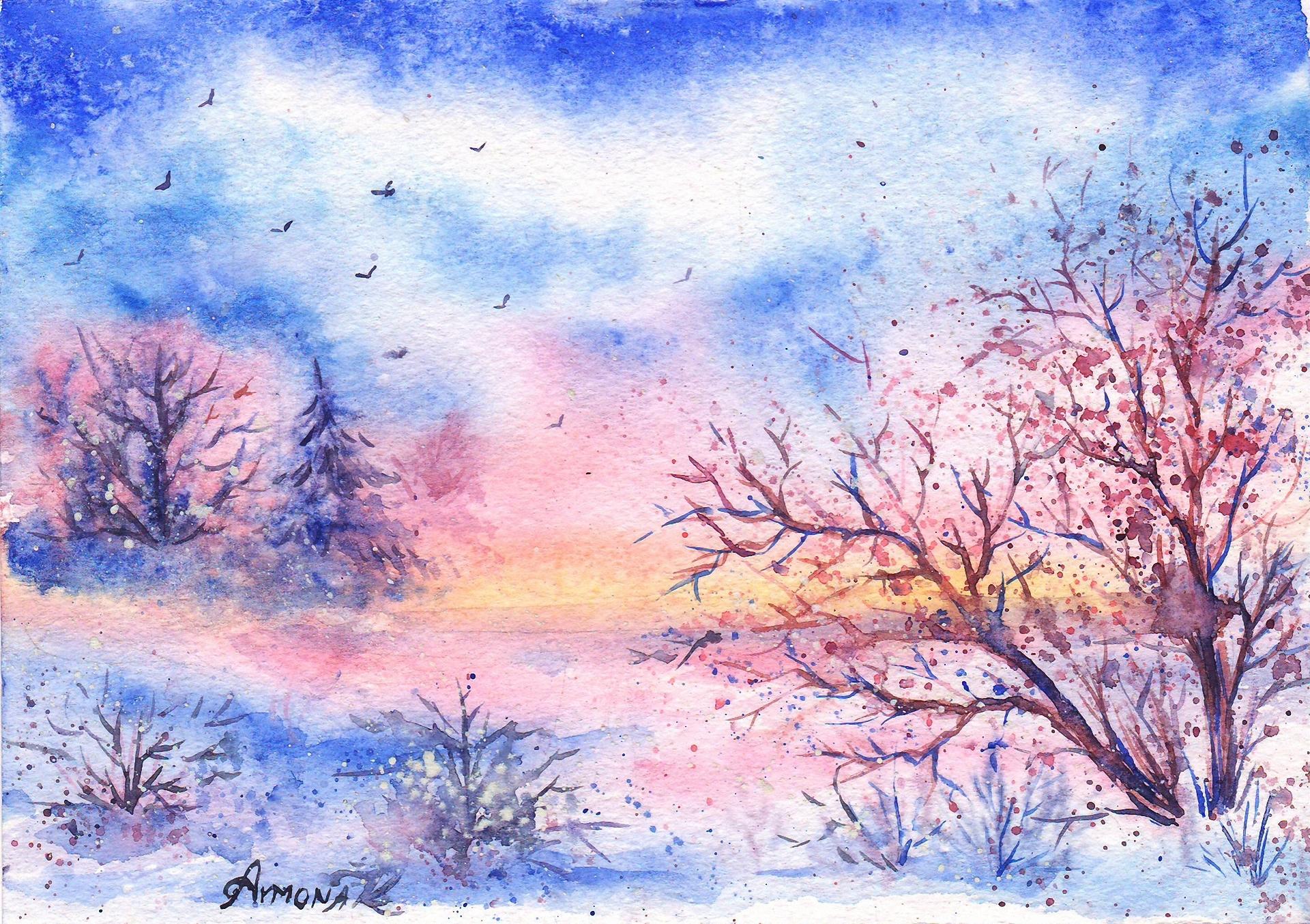 Зимние пейзажи рисовать акварелью
