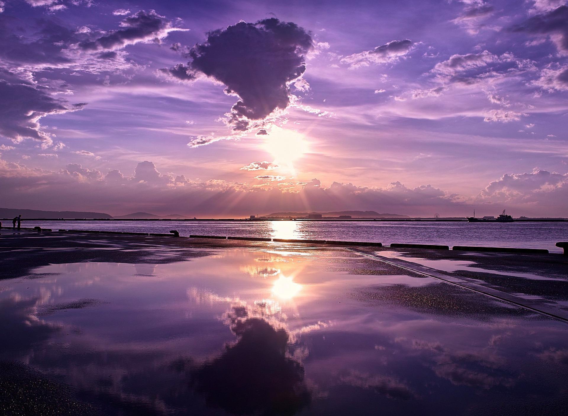 Красивые картинки закат на море фиолетовый