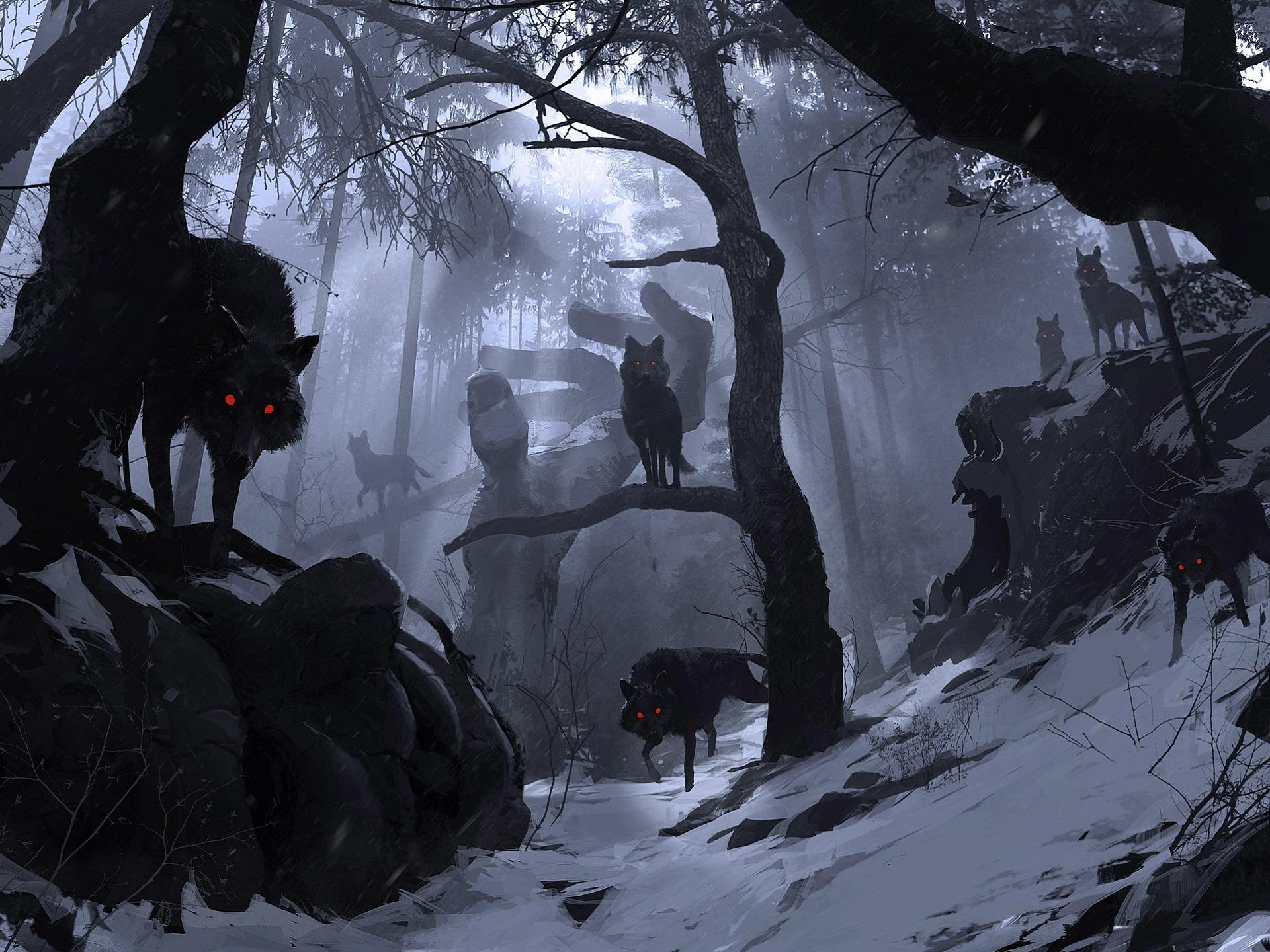 картинки черные волки