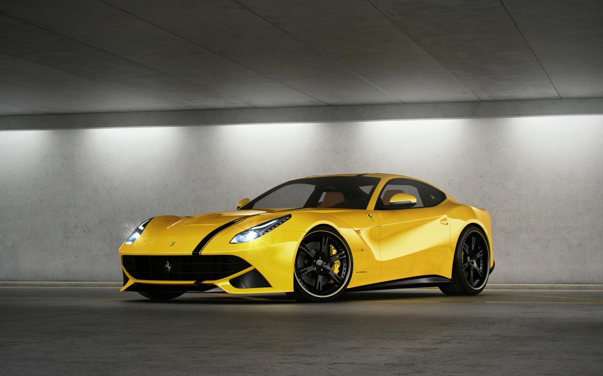 желтый спортивный автомобиль Ferrari F12 Berlinetta Wheelsandmore  № 1564280 без смс