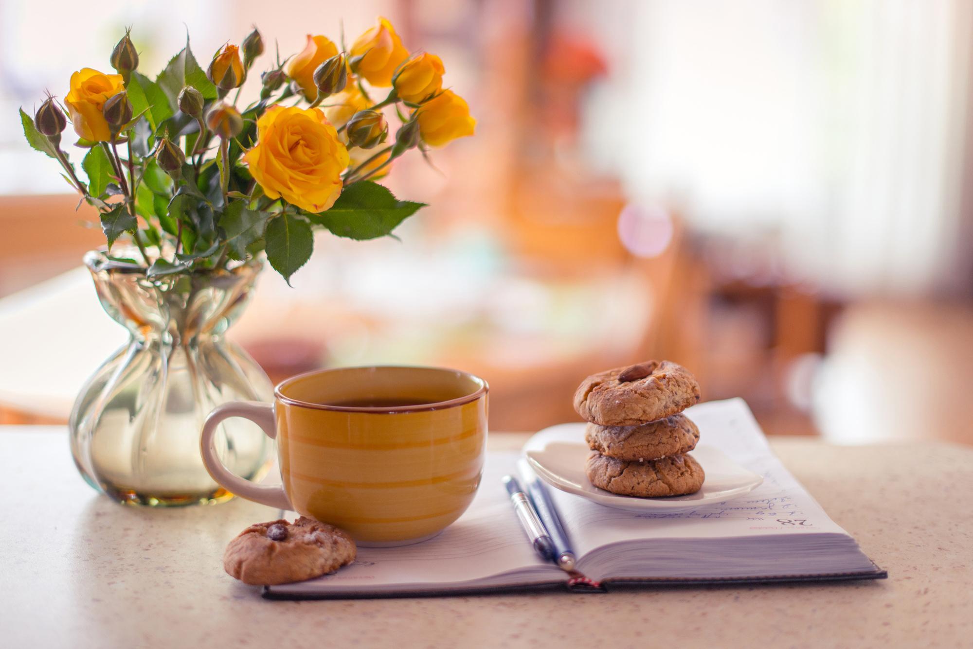 утренняя девушка с чаем  № 2871365 без смс
