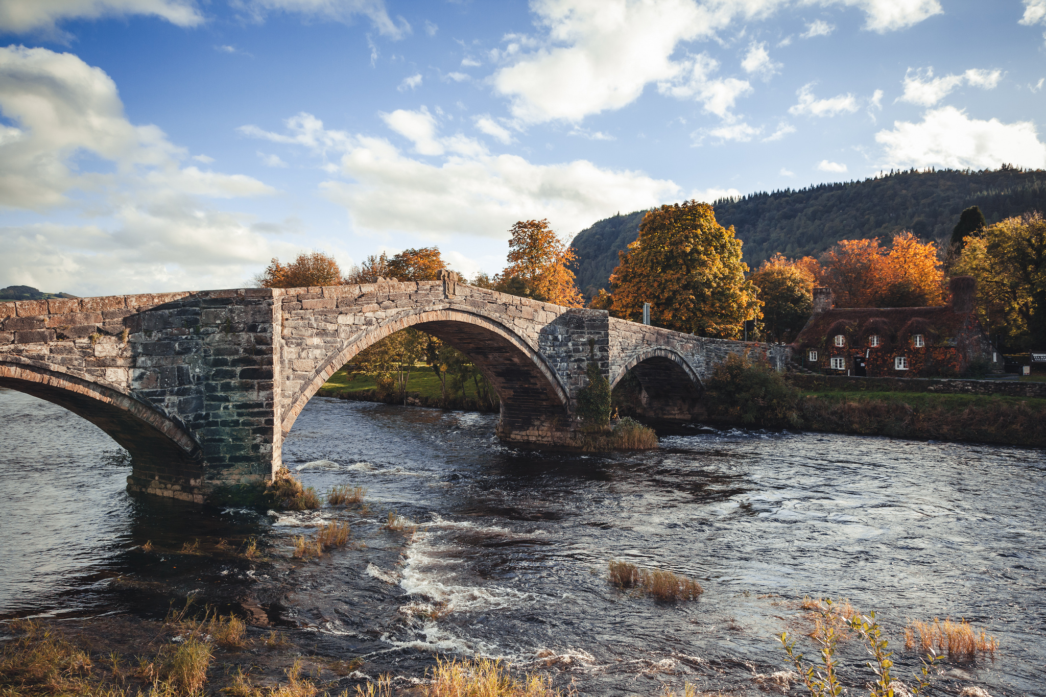 Мост через речку в ущелье  № 2239432 бесплатно