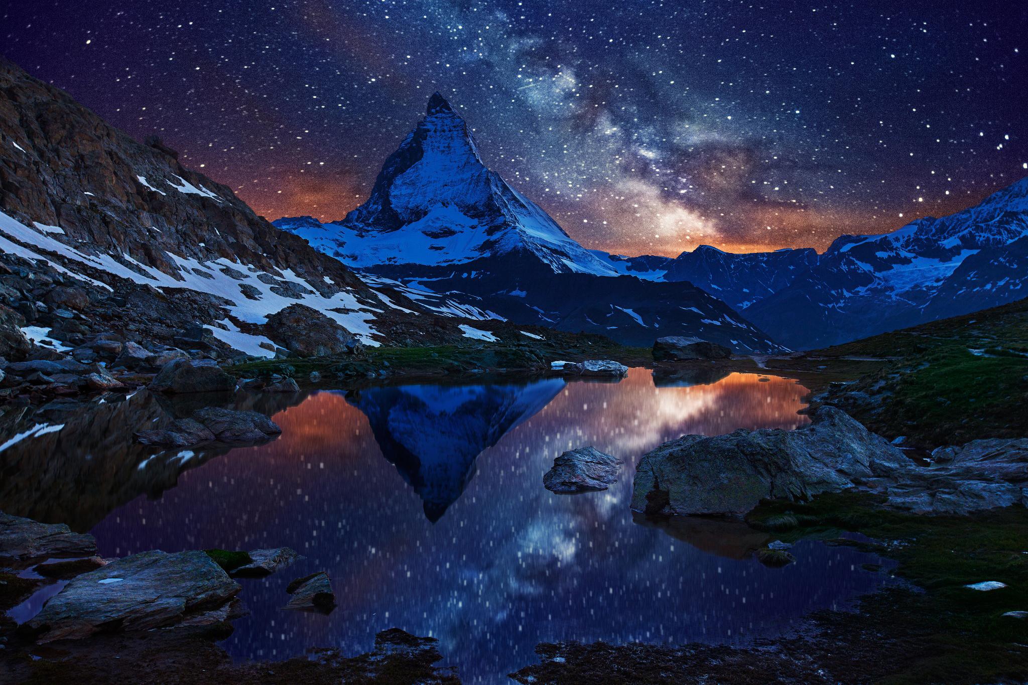 природа космос горы скалы небо звезды ночь  № 851788 загрузить