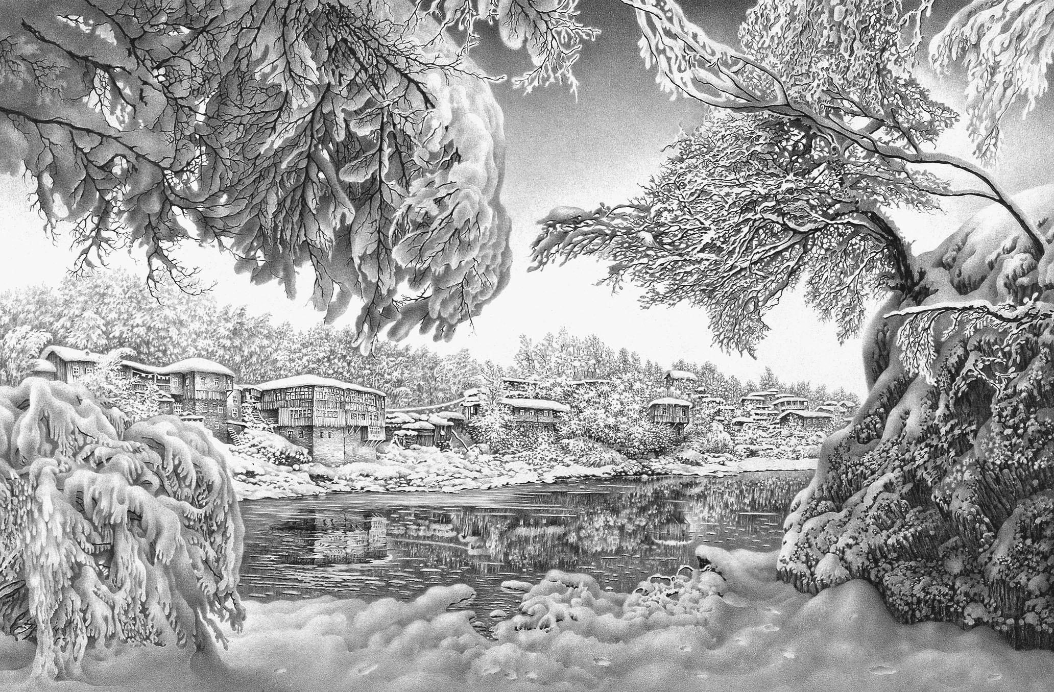 Картинки зимы для срисовки
