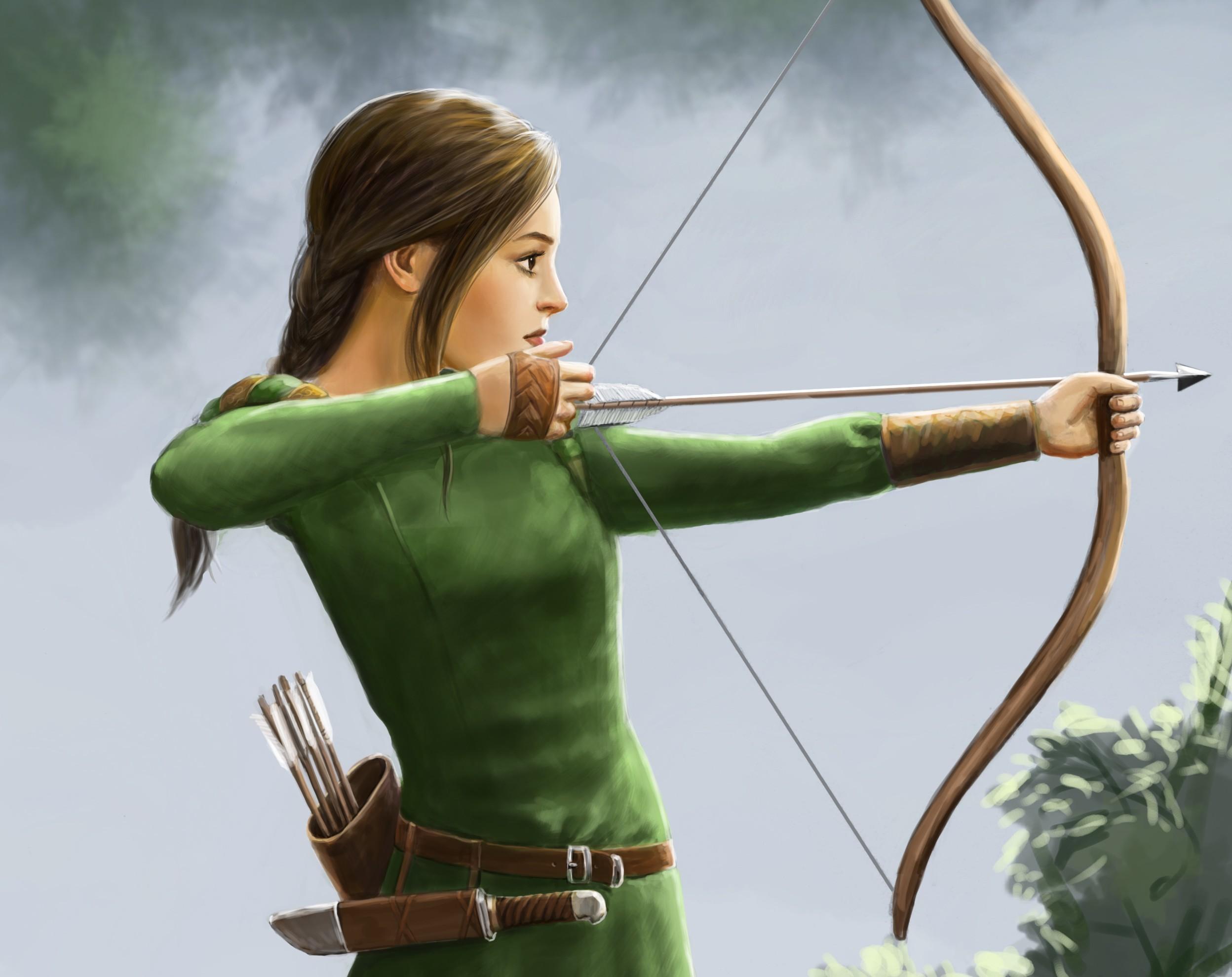 Картинки девушек с луком и стрелой