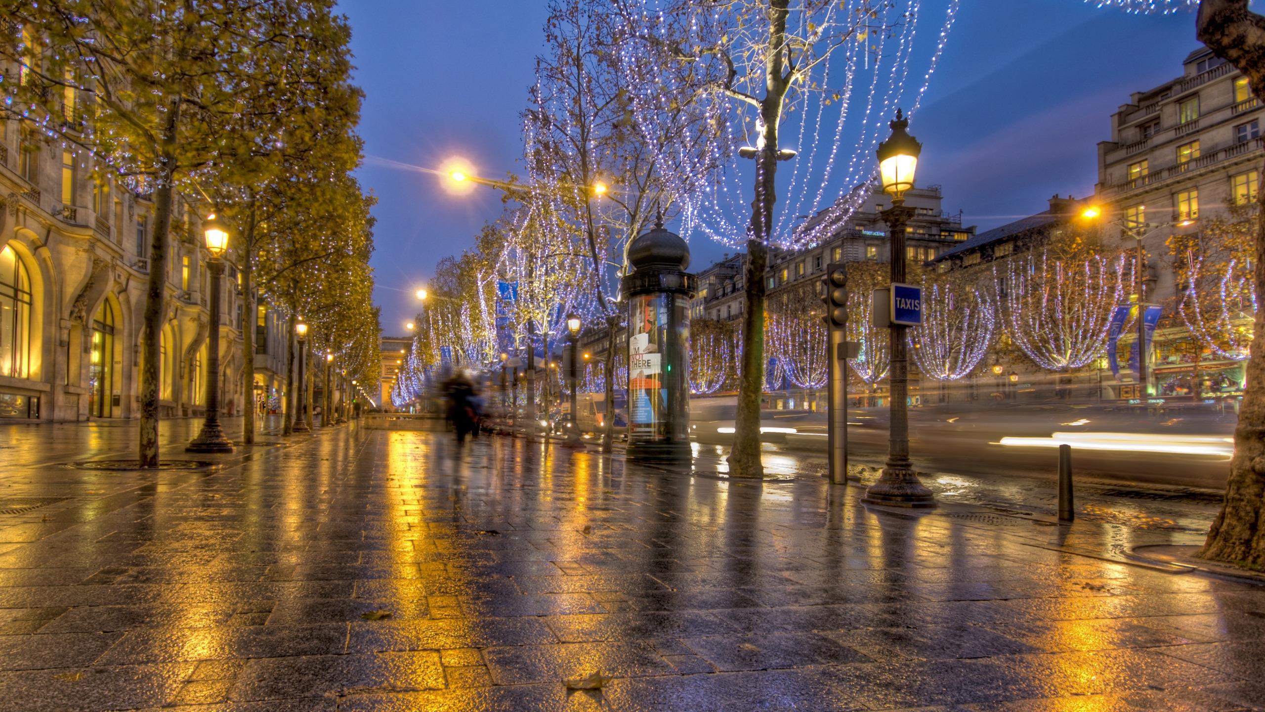 Франция дороги ночь фонари  № 2229265  скачать