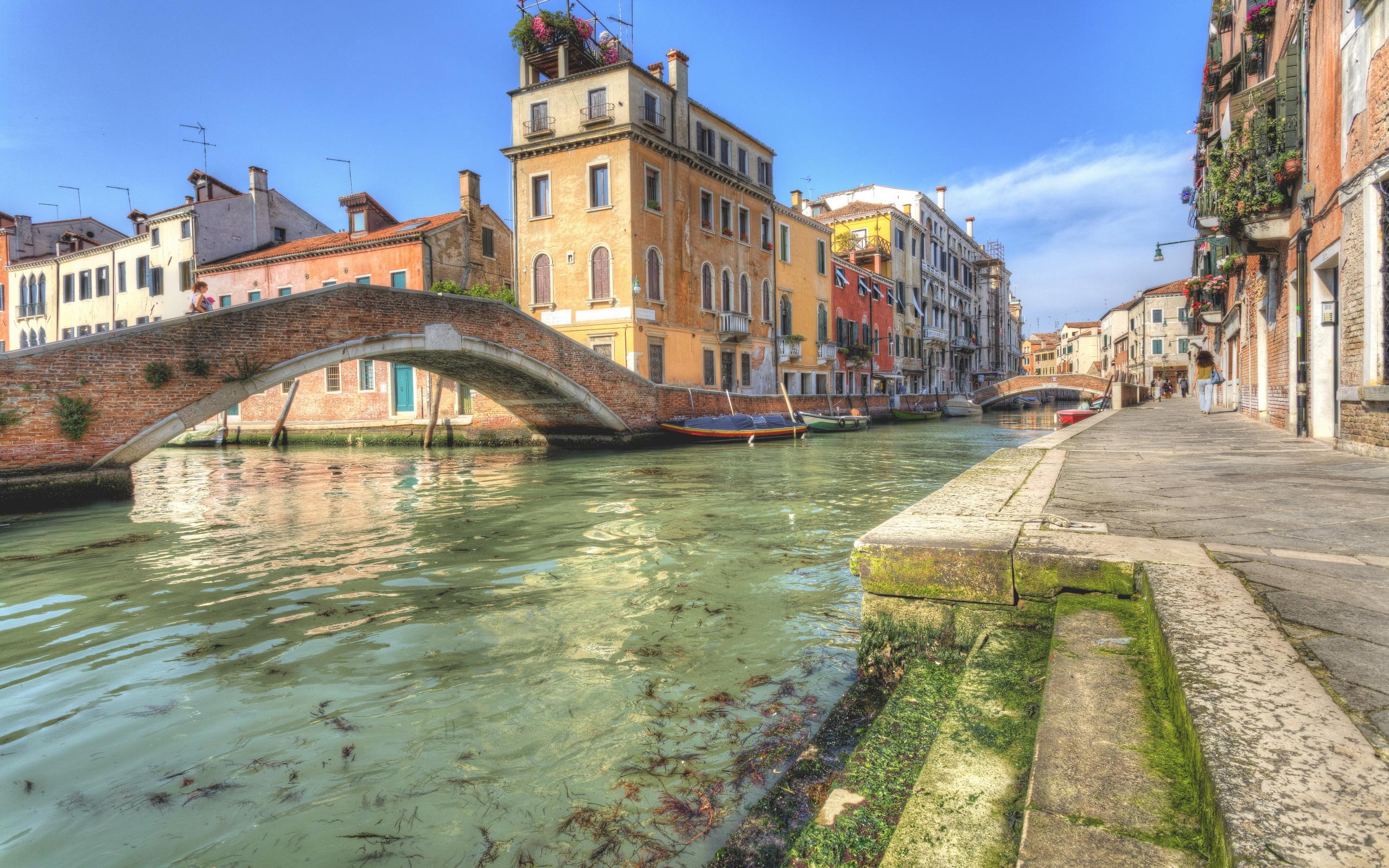 Обои канал, лодки, венеция, мосты, дома, улицы. Города foto 6