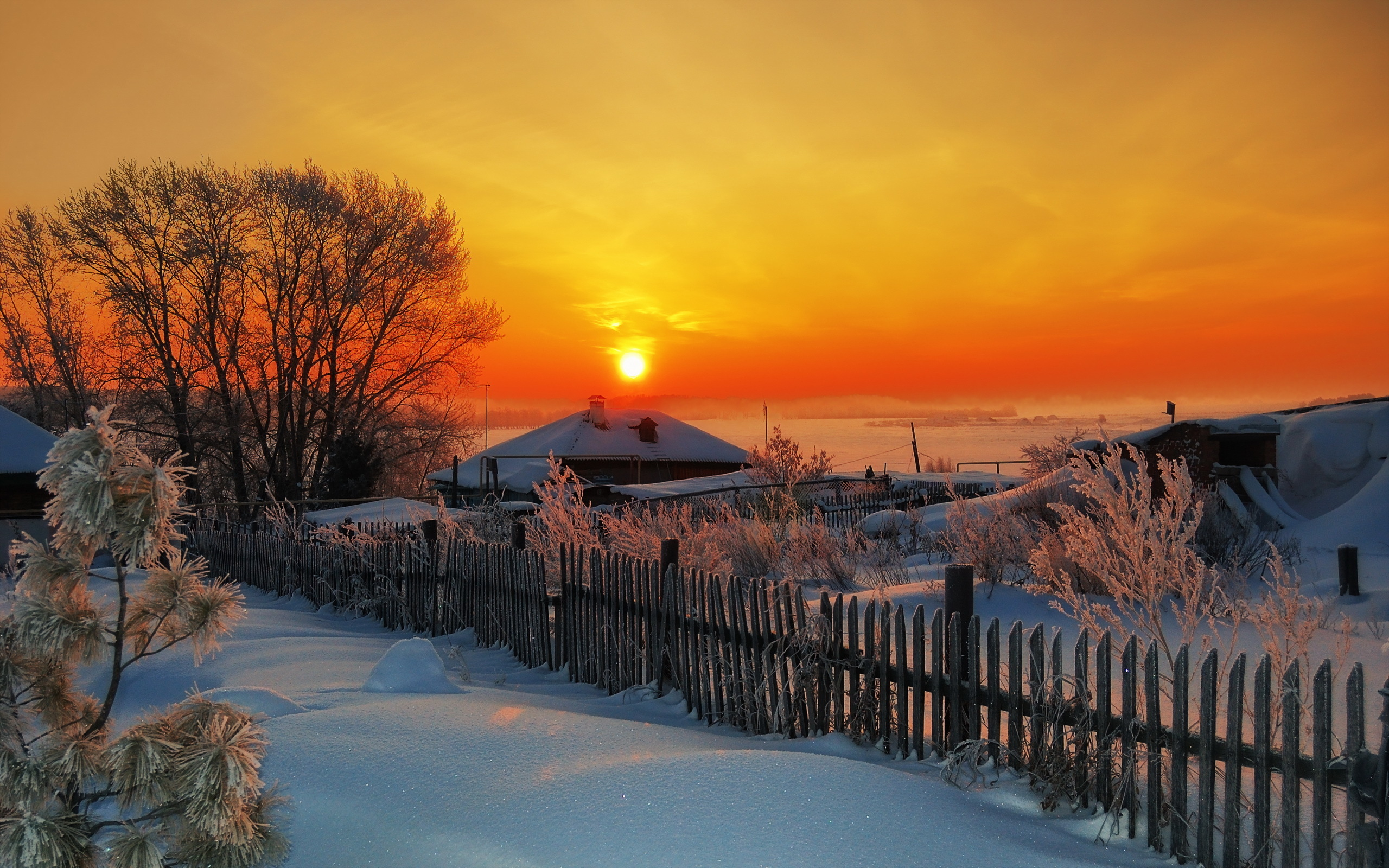 Зимняя деревня к картинках