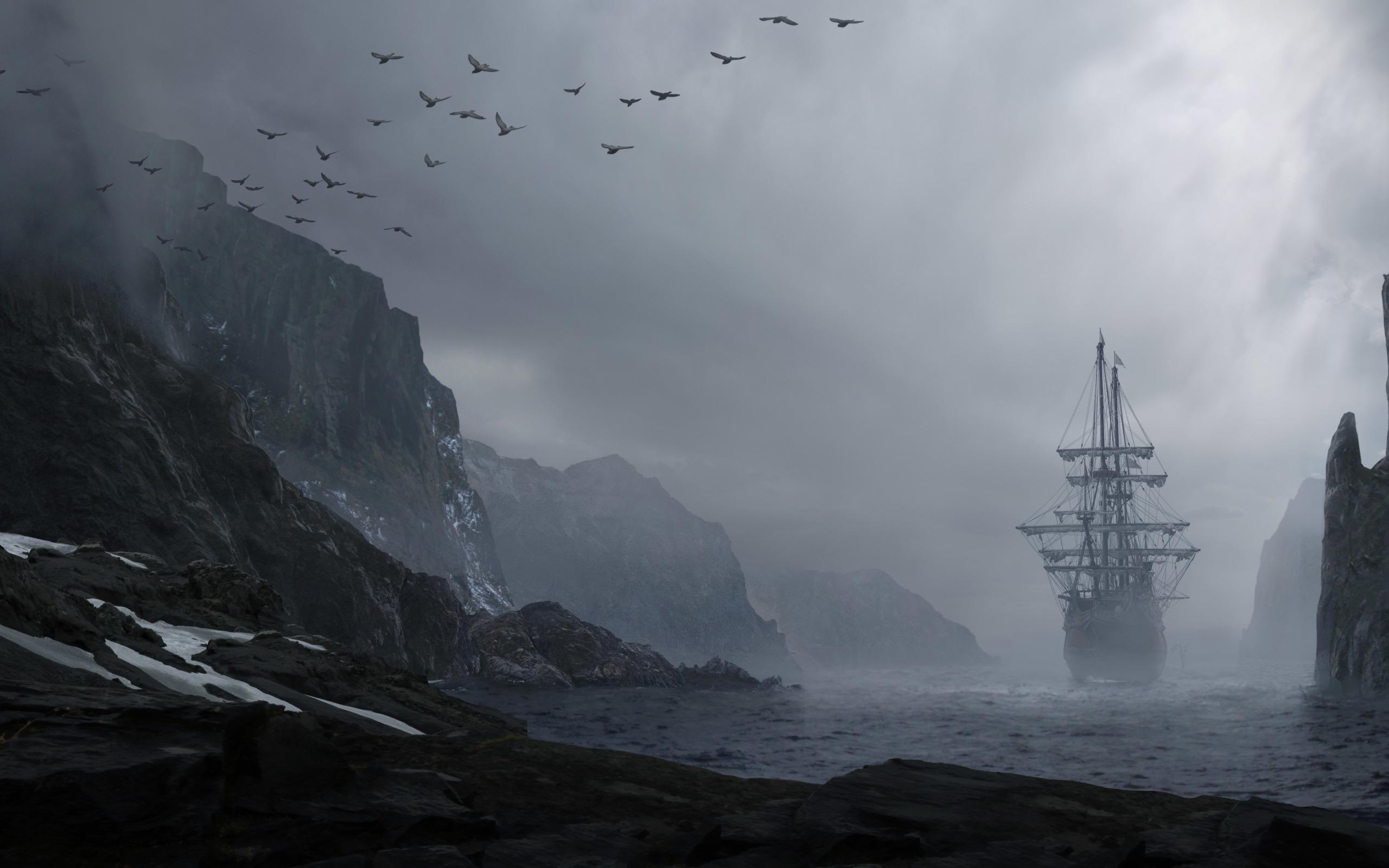 брелки черные фото корабль в скале бритым виском