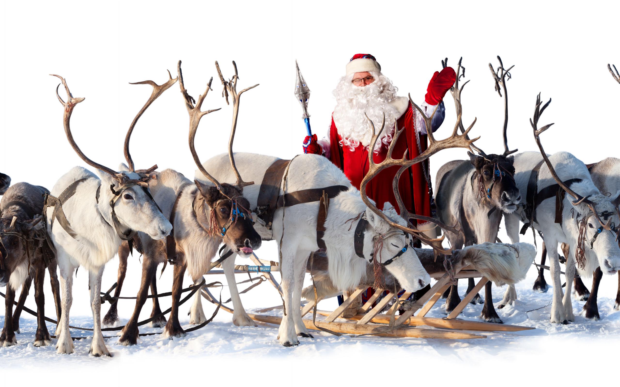 Открытки музыкальные, новогодние открытки дед мороз на санях с оленями
