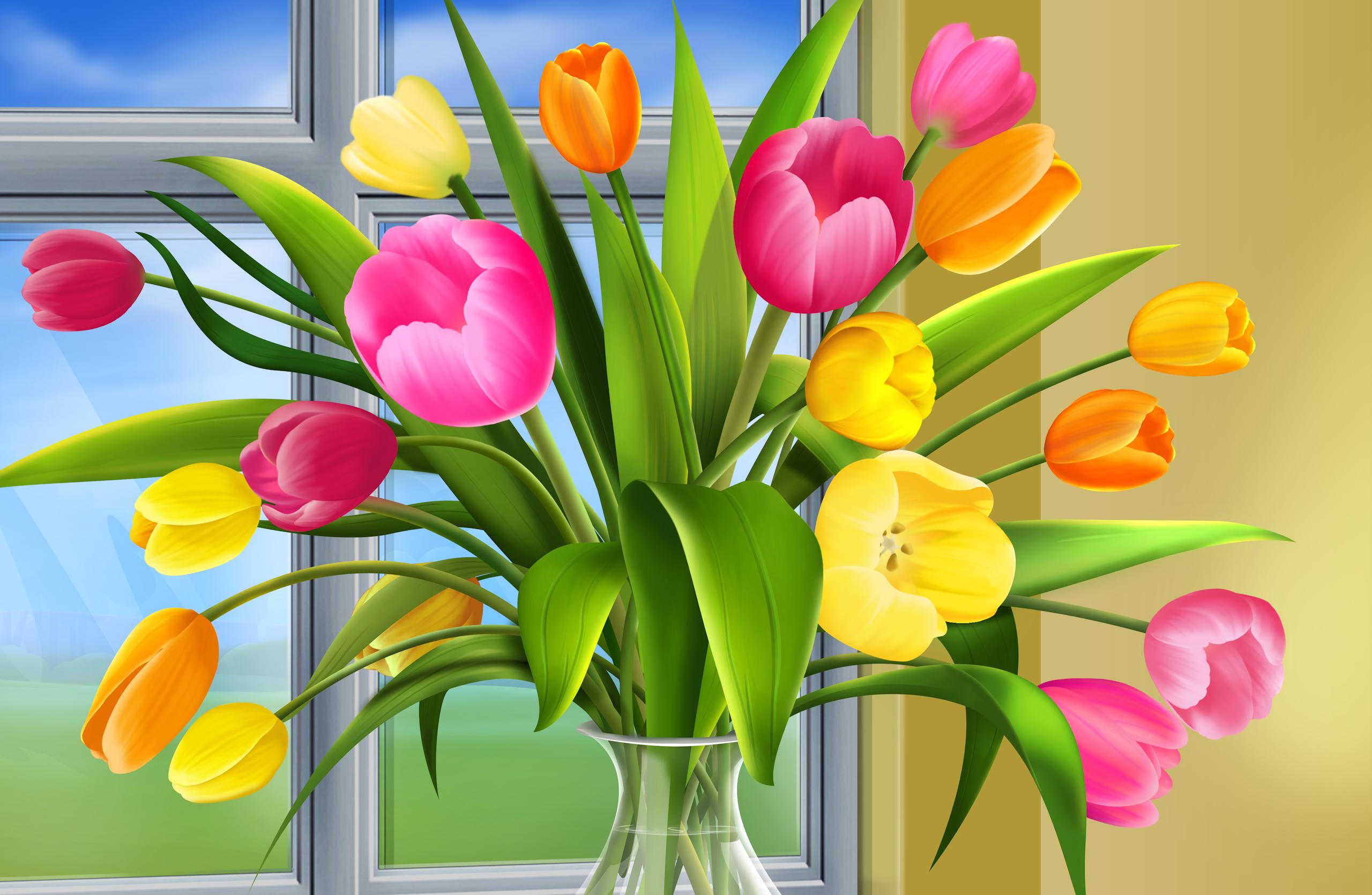 Флеш открытка цветами