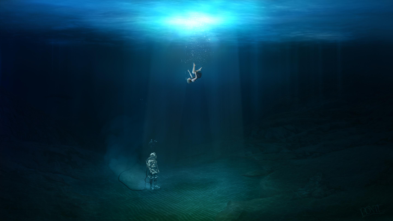 Обои на рабочий стол девушки под водой