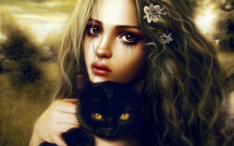 девушка котенок лицо взгляд  № 3597591 бесплатно