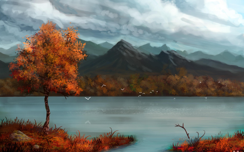 природа горы облака деревья река nature mountains clouds trees river  № 1000498 без смс