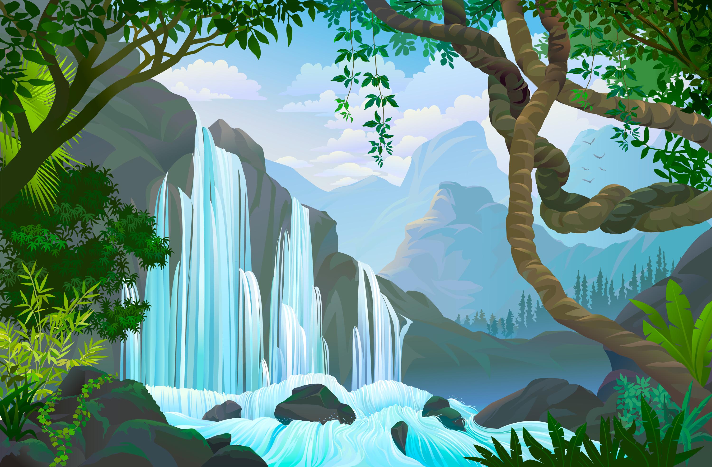 картинка дерево с водопадом это время