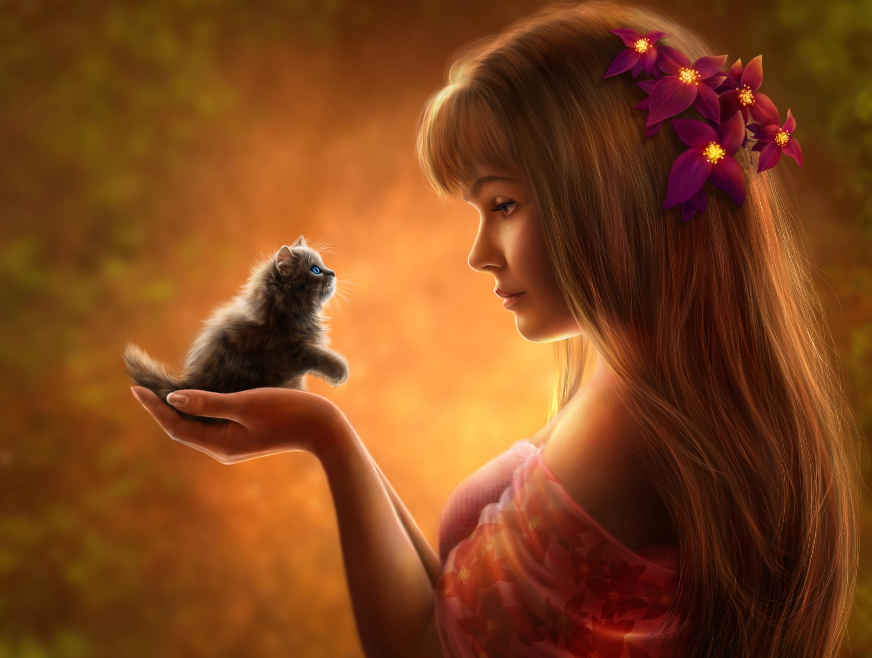 девушка котенок лицо взгляд  № 3597635 загрузить
