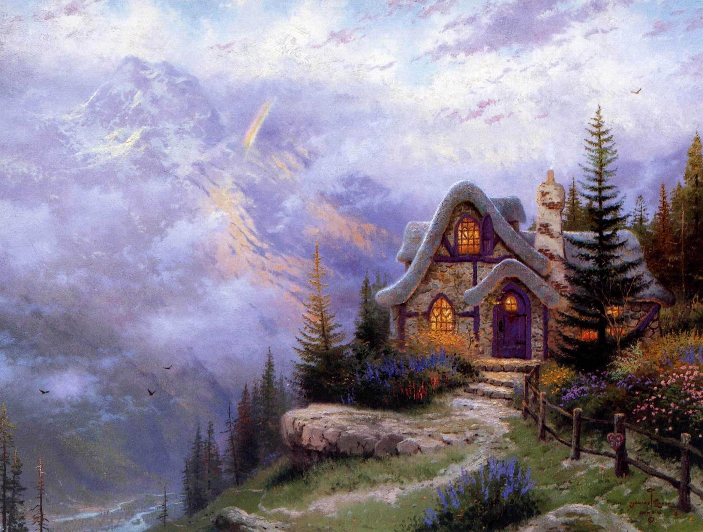 Детские, картинки сказочный домик в лесу