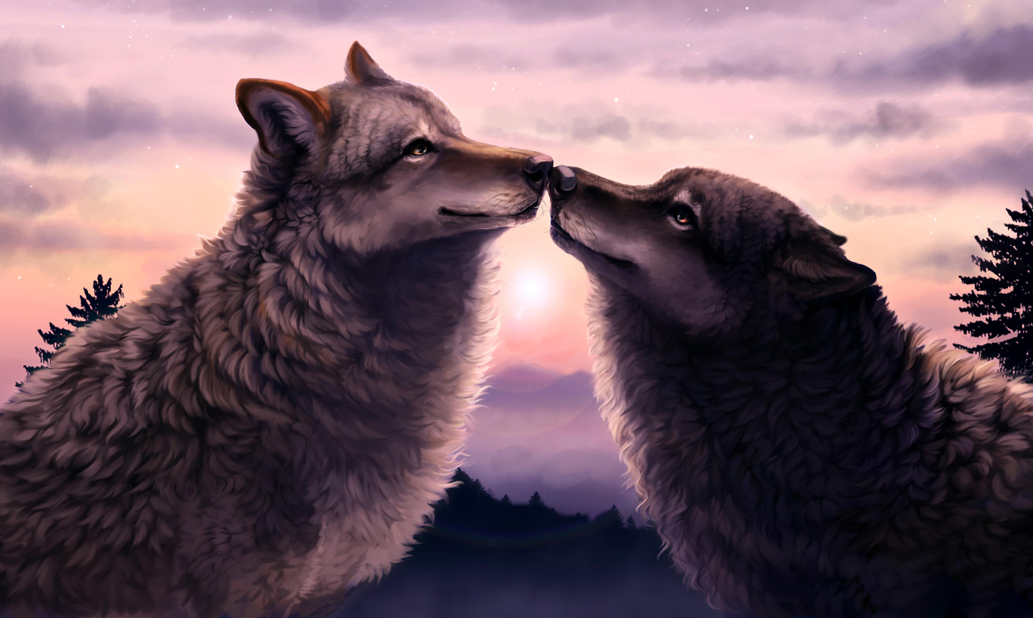 как целующиеся волки признания в любви картинки купальники как