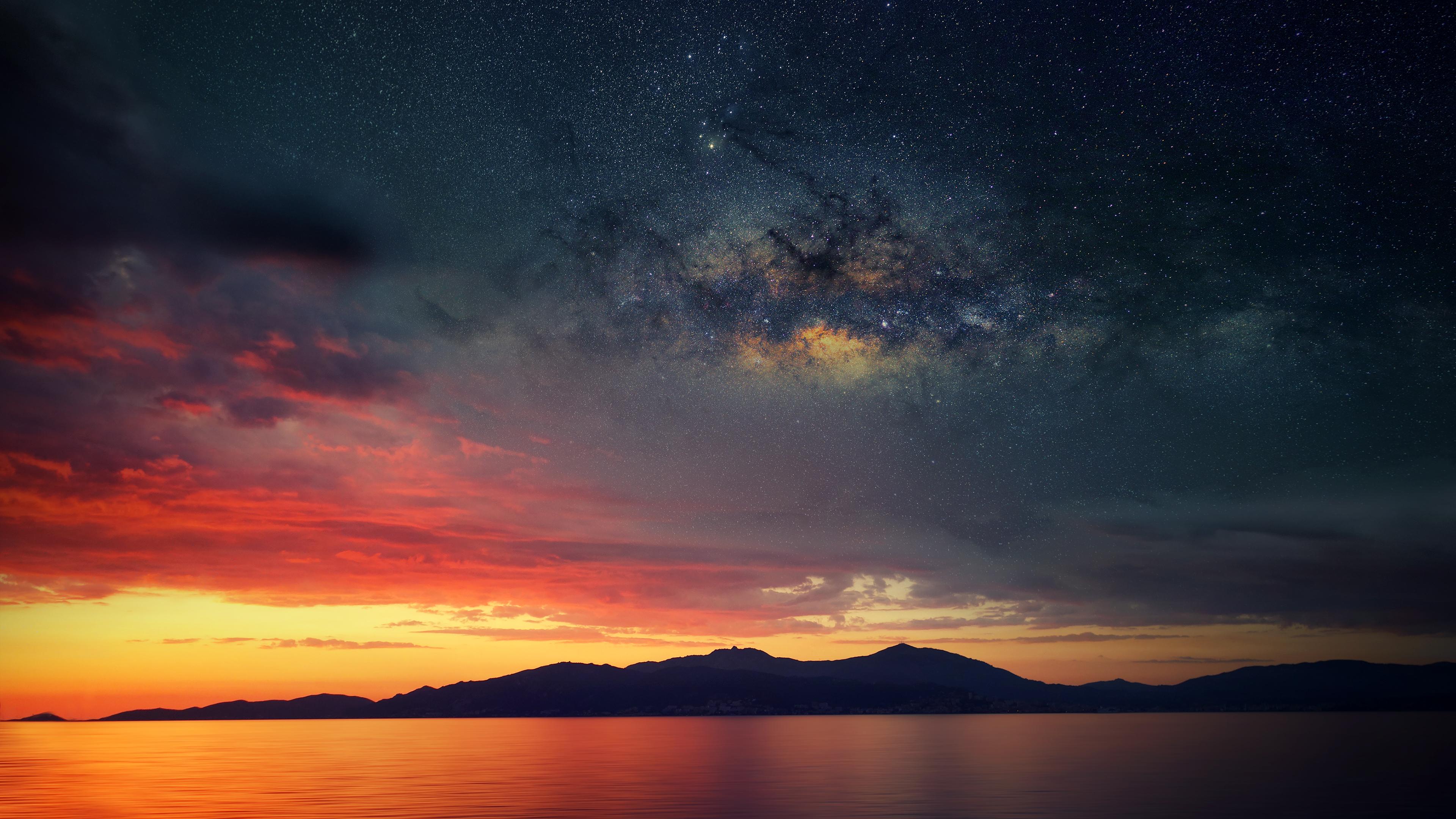 закат горы небо вода  № 1019616 без смс