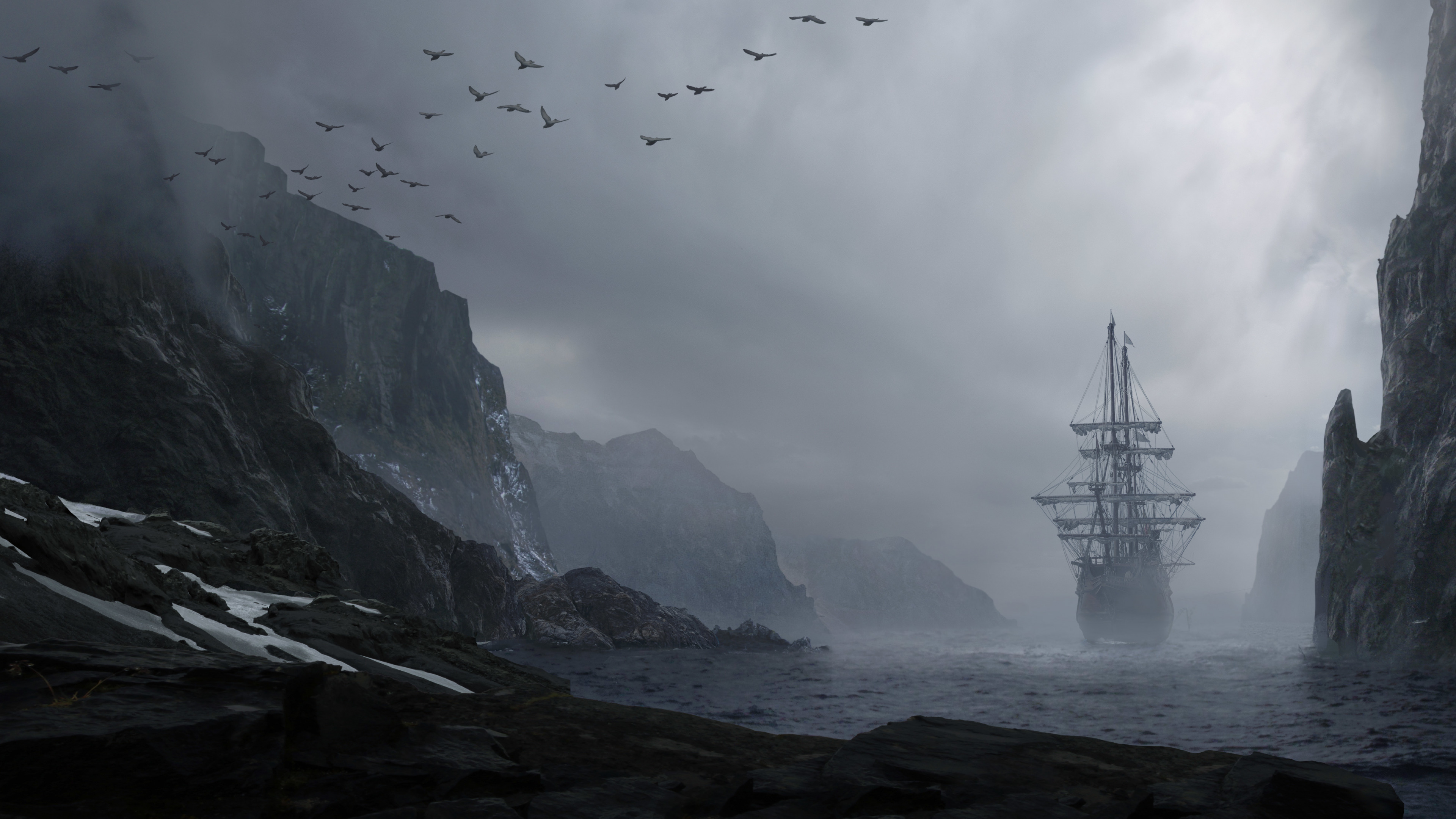 картинка корабль море скалы рукав-крылышко