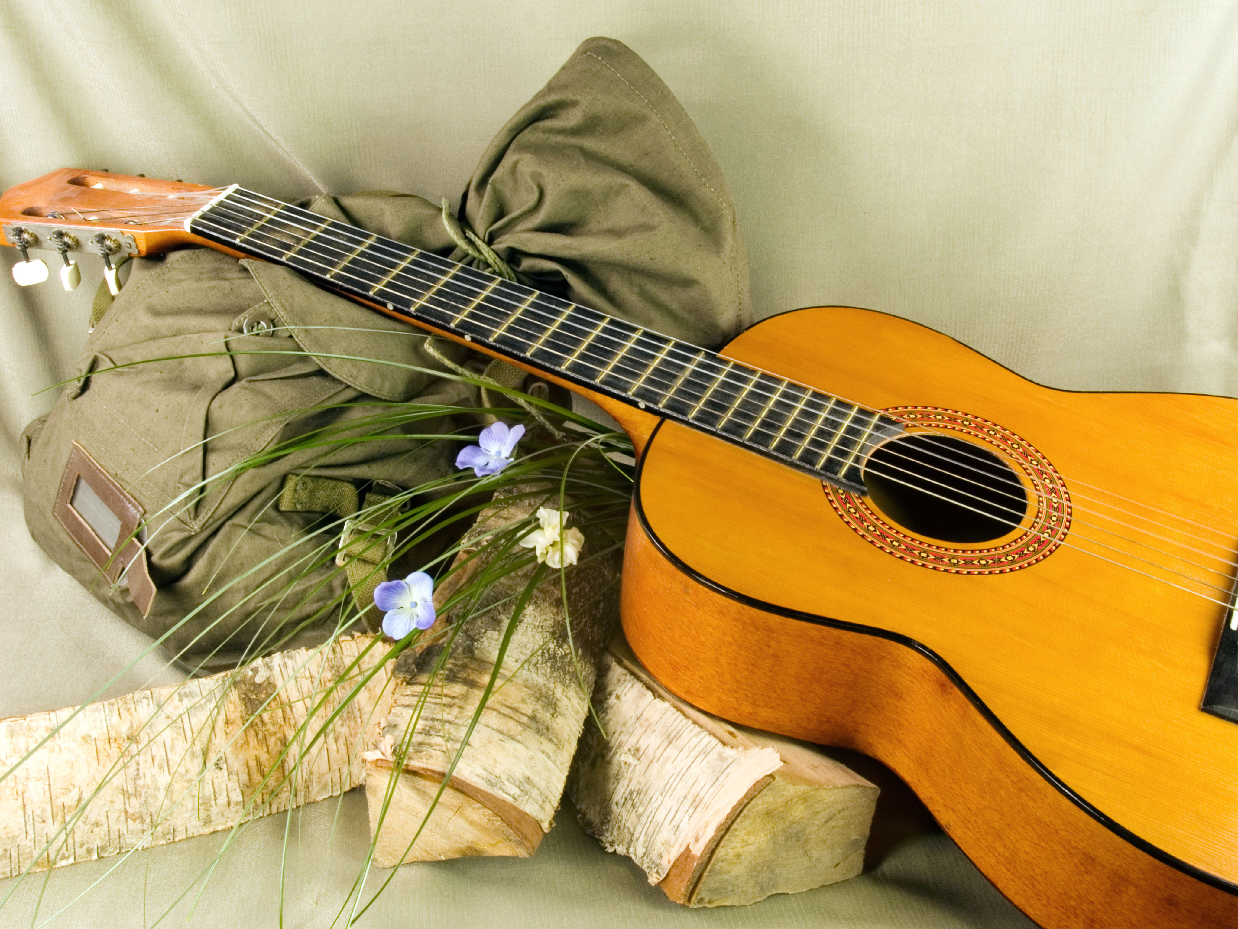 С гитарой открытка